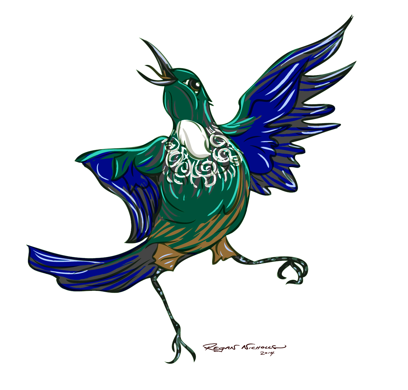 Early character sketch of a Tui for a children's book featuring New Zealand flora and fauna. More details to follow.