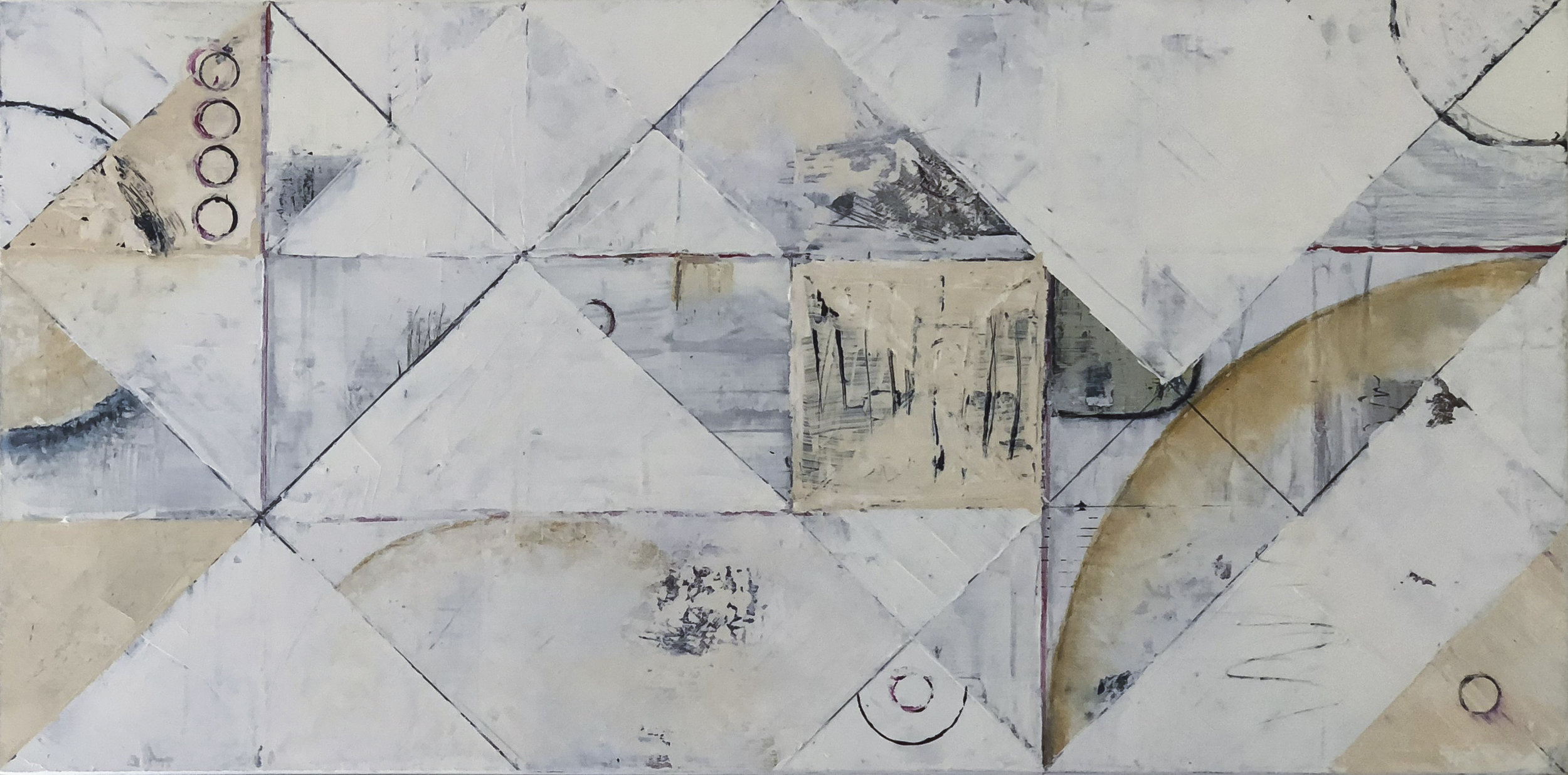 before; when only there was radio:  acrylic, masking tape, graphite, oil / cold wax medium on cradled birch panel (24x48)
