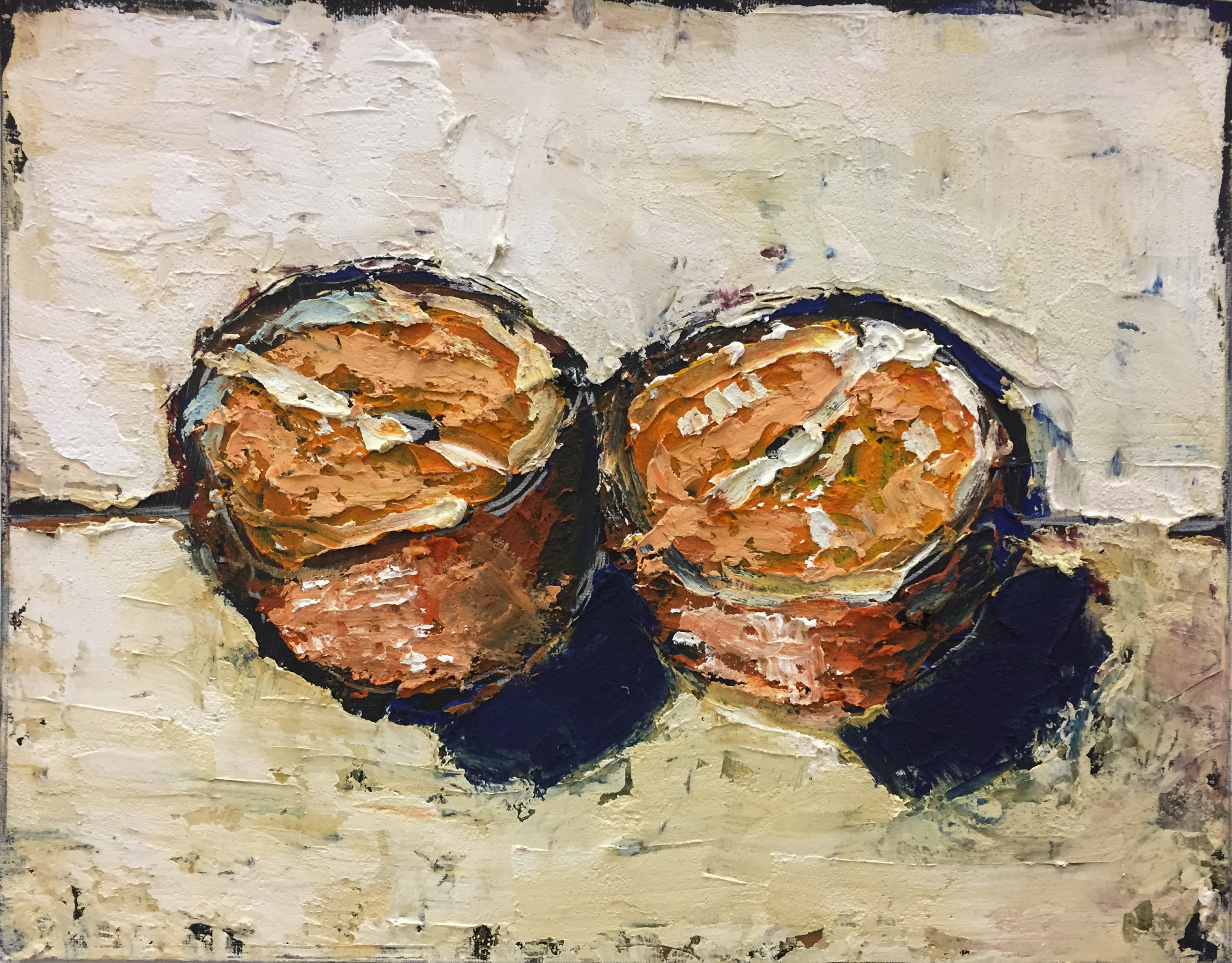 orange halves; oil / cold wax medium on panel (11x14)