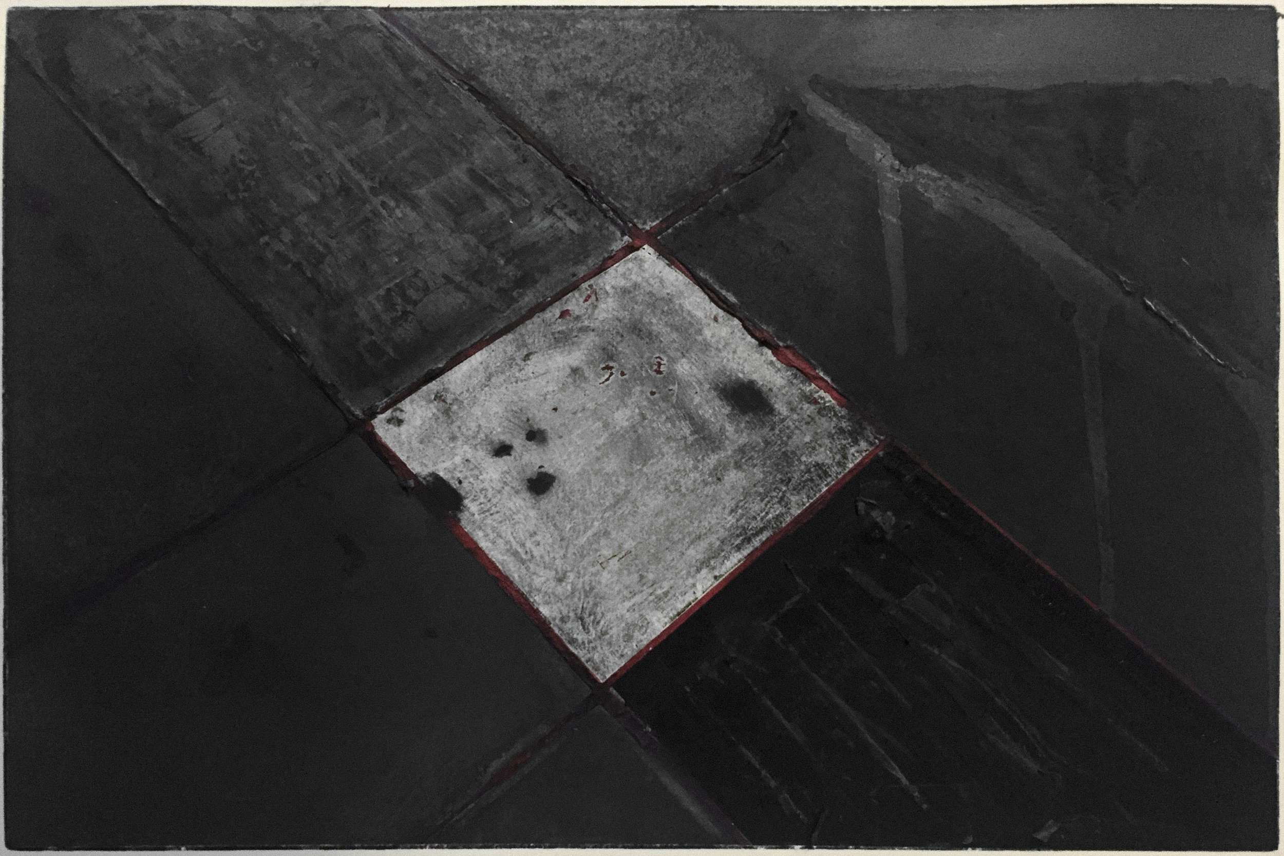 untitled #2 (cross section) charcoal, graphite, and masking tape over pigment print (11x14)