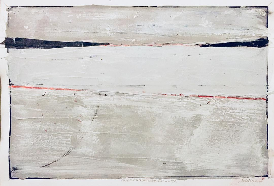 chautauqua lake in winter; acrylic, graphite, marker, and masking tape over pigment print (11x14)