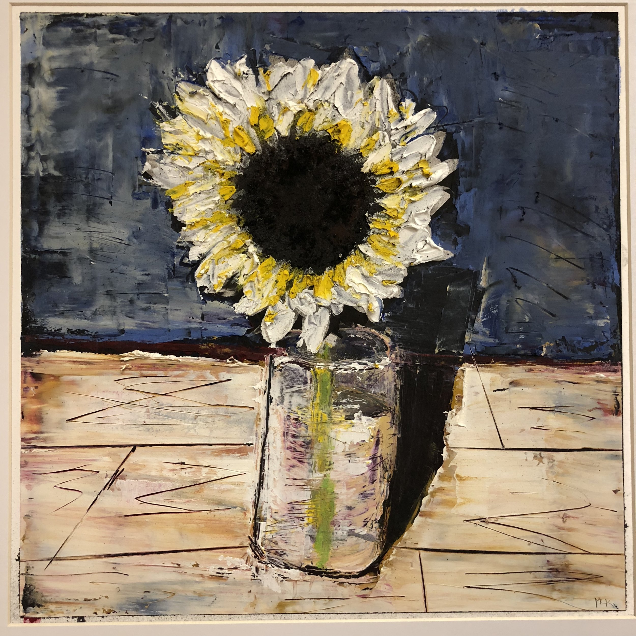 sunflower #2; charcoal, graphite, oil/cold wax medium over archival pigment print (12x12)