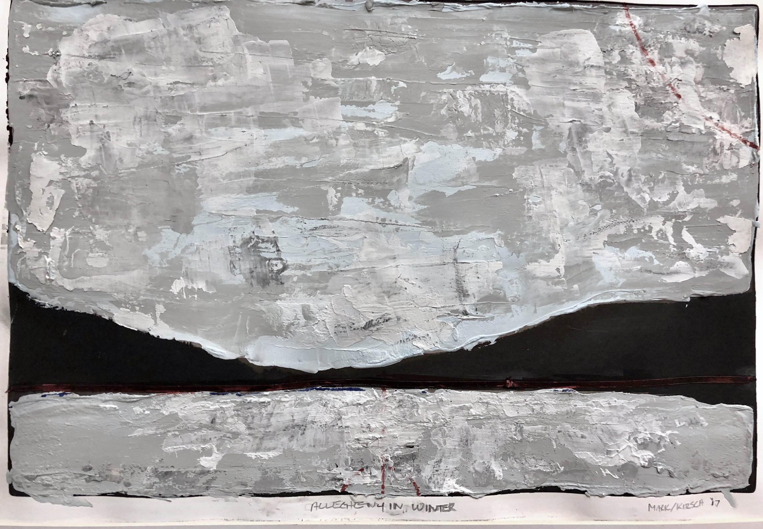 allegheny in winter; graphite, acrylic, masking tape, marker over pigment print (11x14)