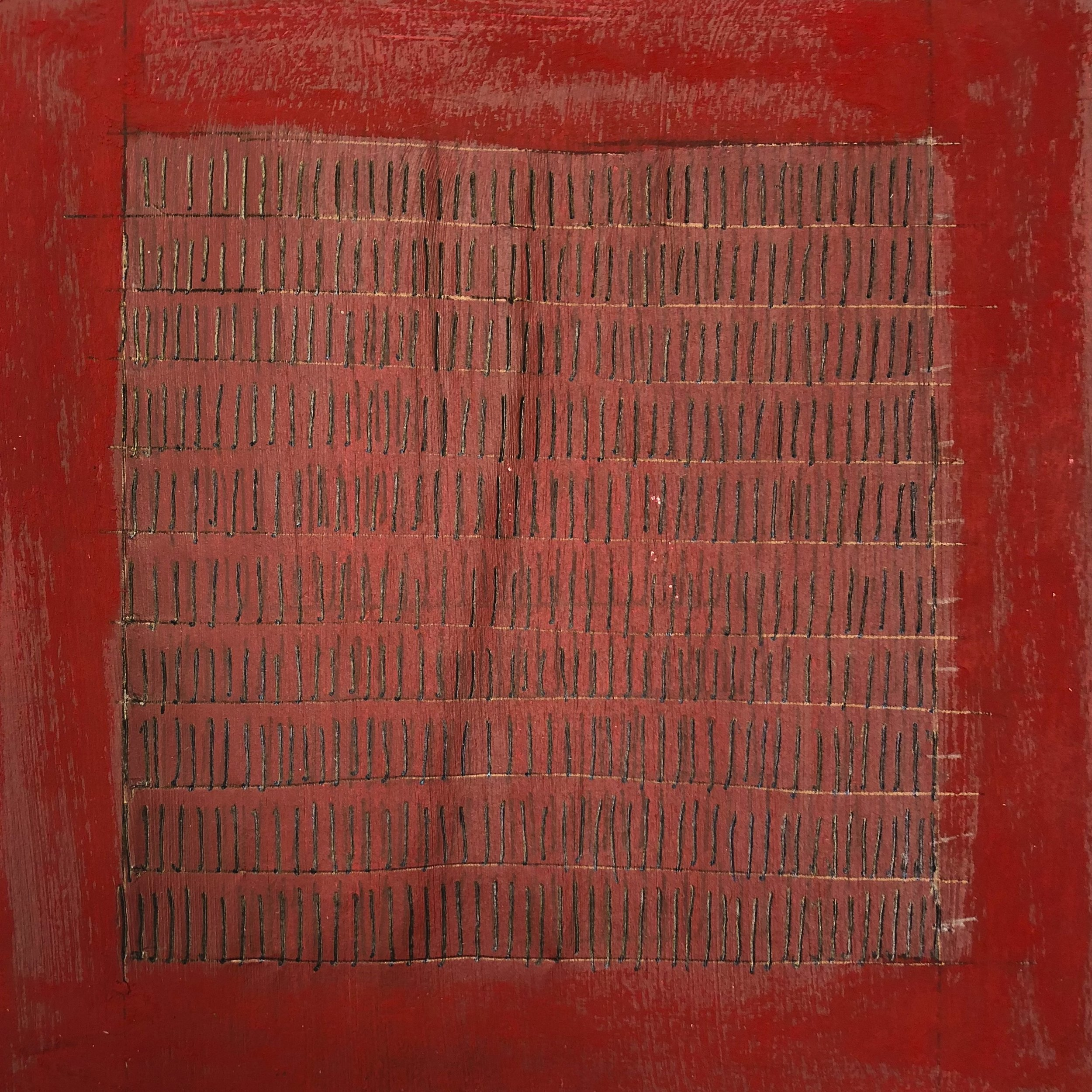 (425) black lines on a red field (sketch); gel ink, acrylic, oil pastel on paper (7x7)