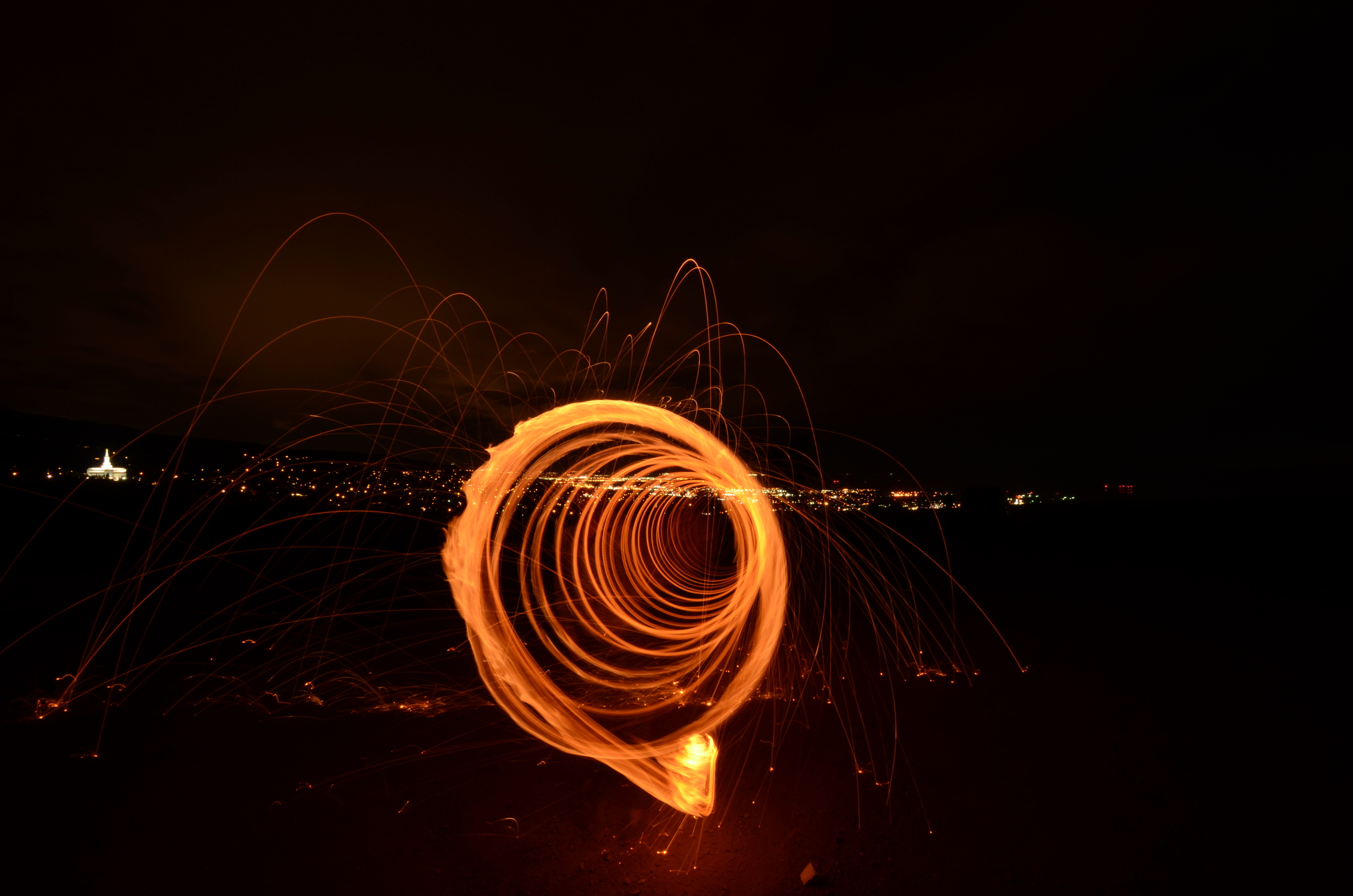 Flaming steel wool, I based the shutter speed on how far I wanted to move. 25 seconds