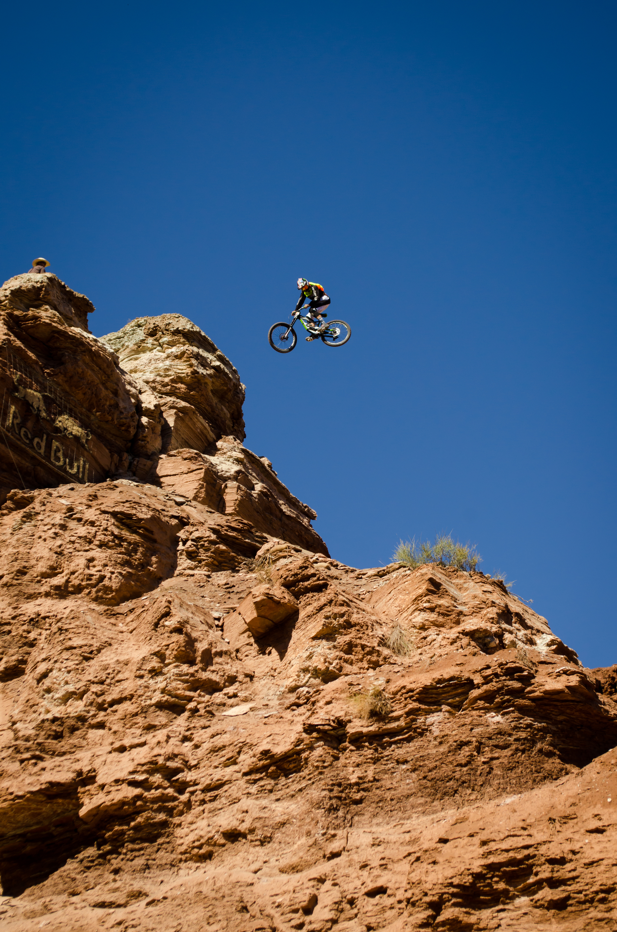 Cam Zink spinning the first of two 360's off this massive cliff