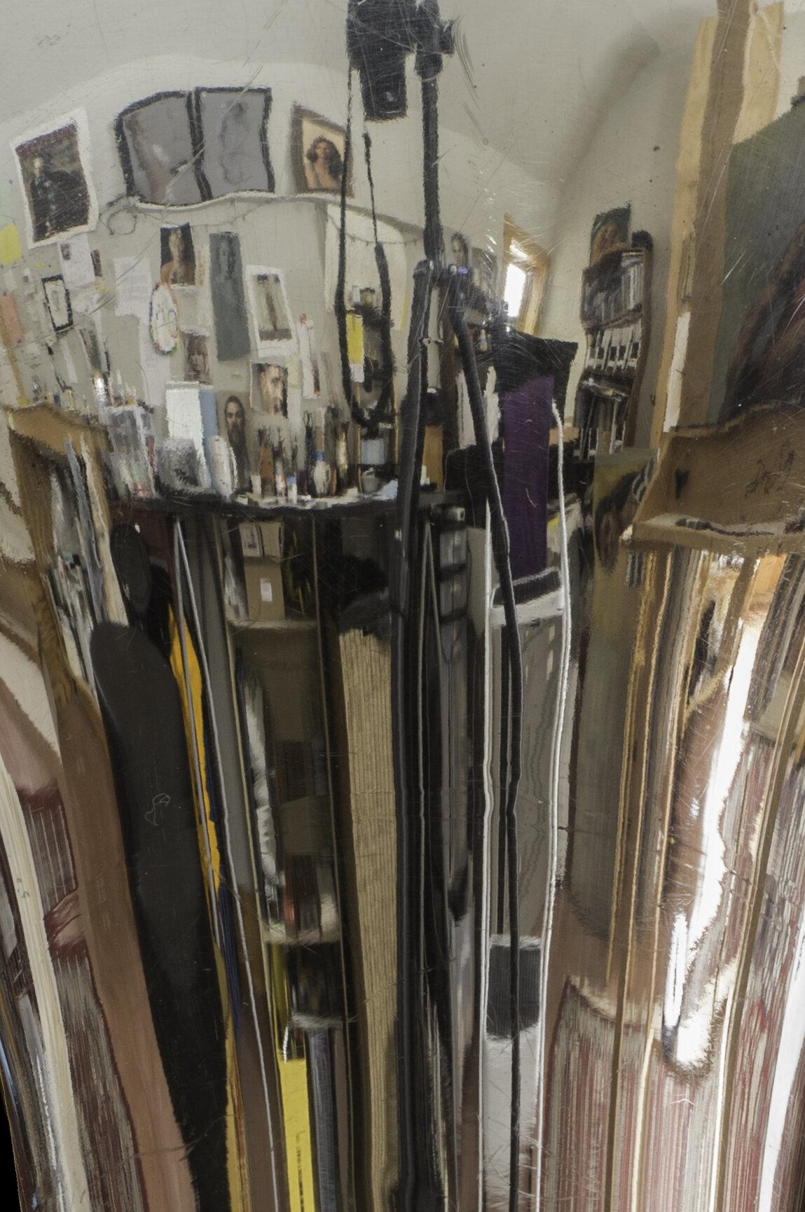 _8 Art and music--August's studio reflected in my flugelhorn.jpg
