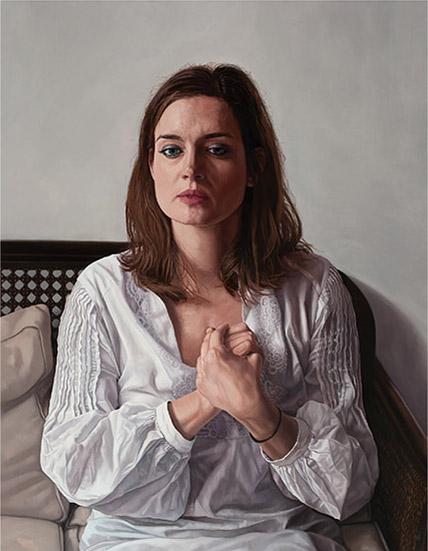 Ms. Schipper, Waiting. 100cm x 120cm. Oil on   canvas.