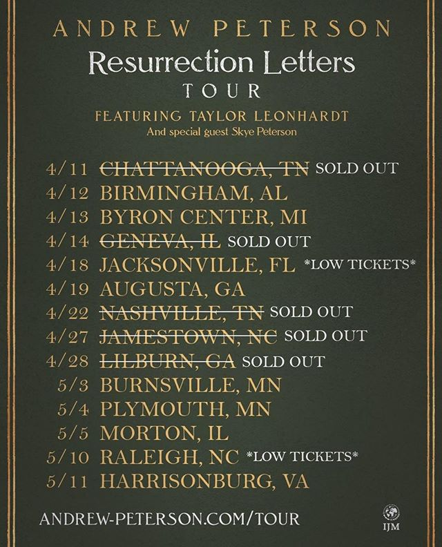 Hey Guys - since we last posted the city list, a couple more shows have sold out. Be sure to get tickets now before more sell out! Can't wait to get on the road tonight with this band and crew. Link to all tickets in bio!