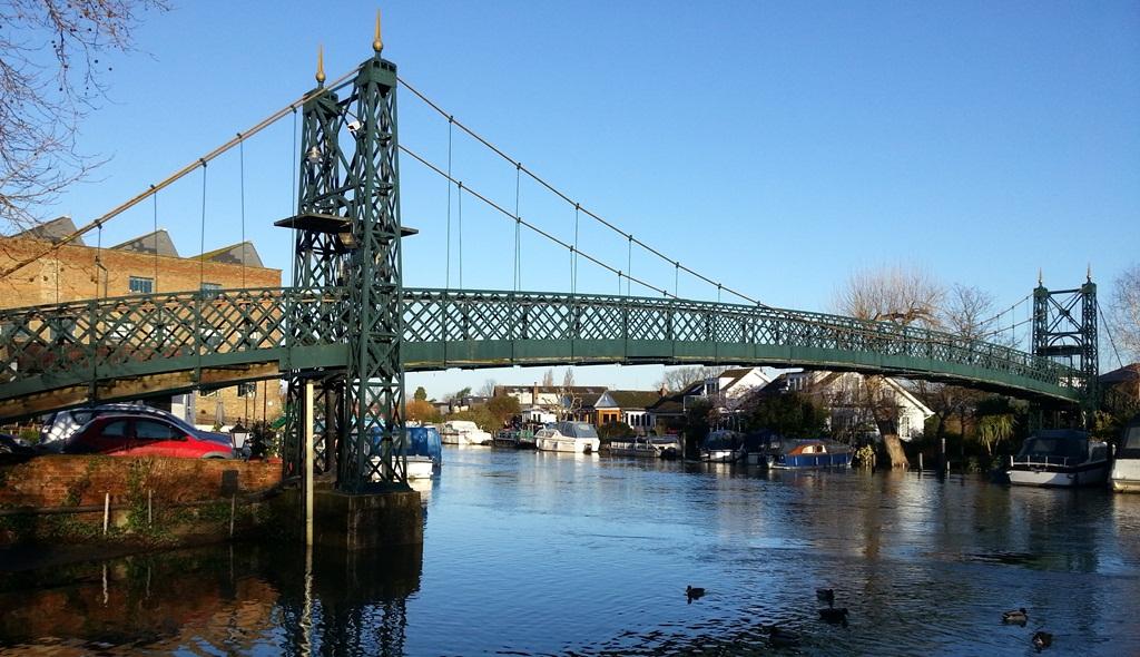 View of Thames Ditton Island's 1939 Suspoension Bridge looking upstream from Slipway 2013.jpg