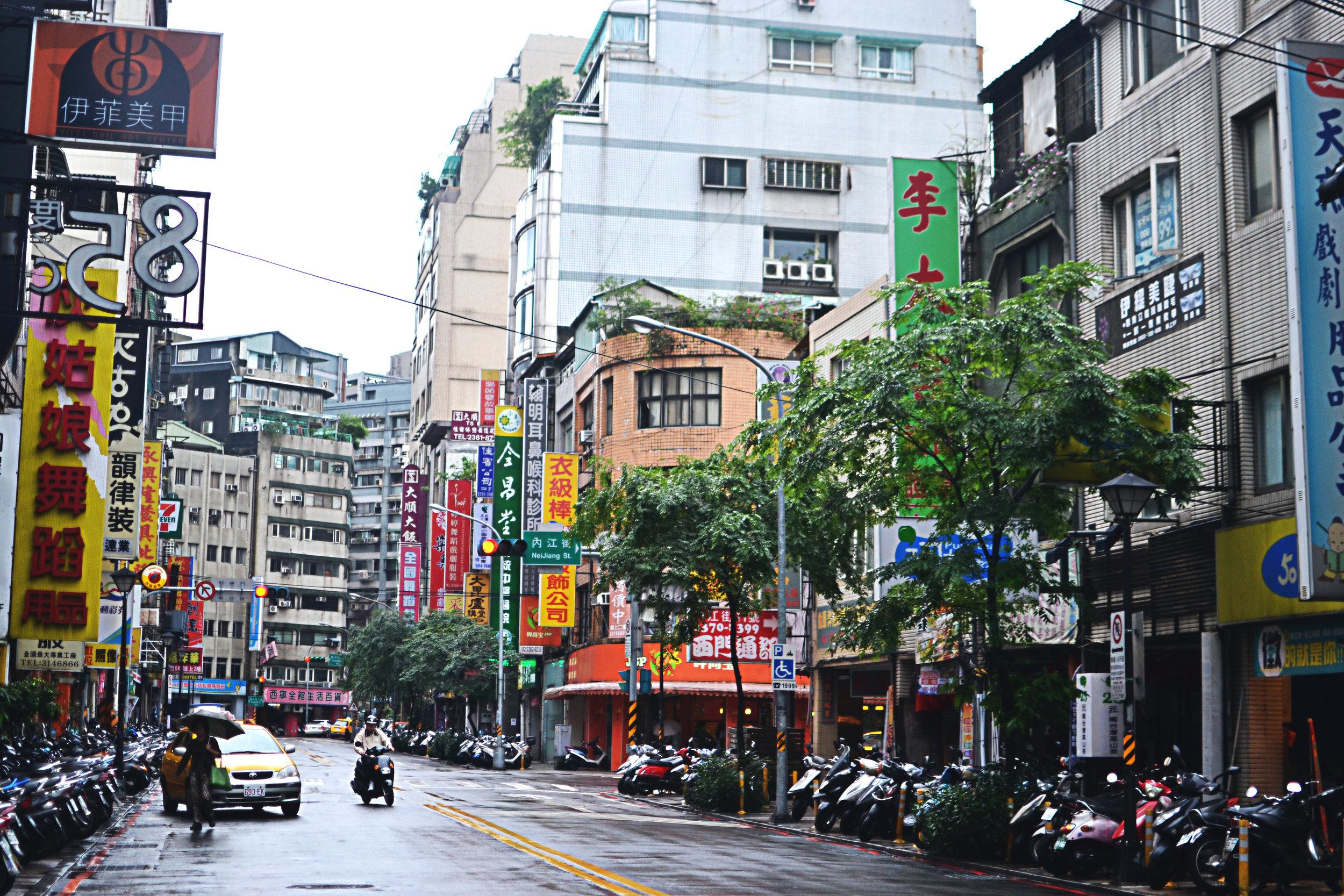 Streets of Taipei, Taiwan after rain