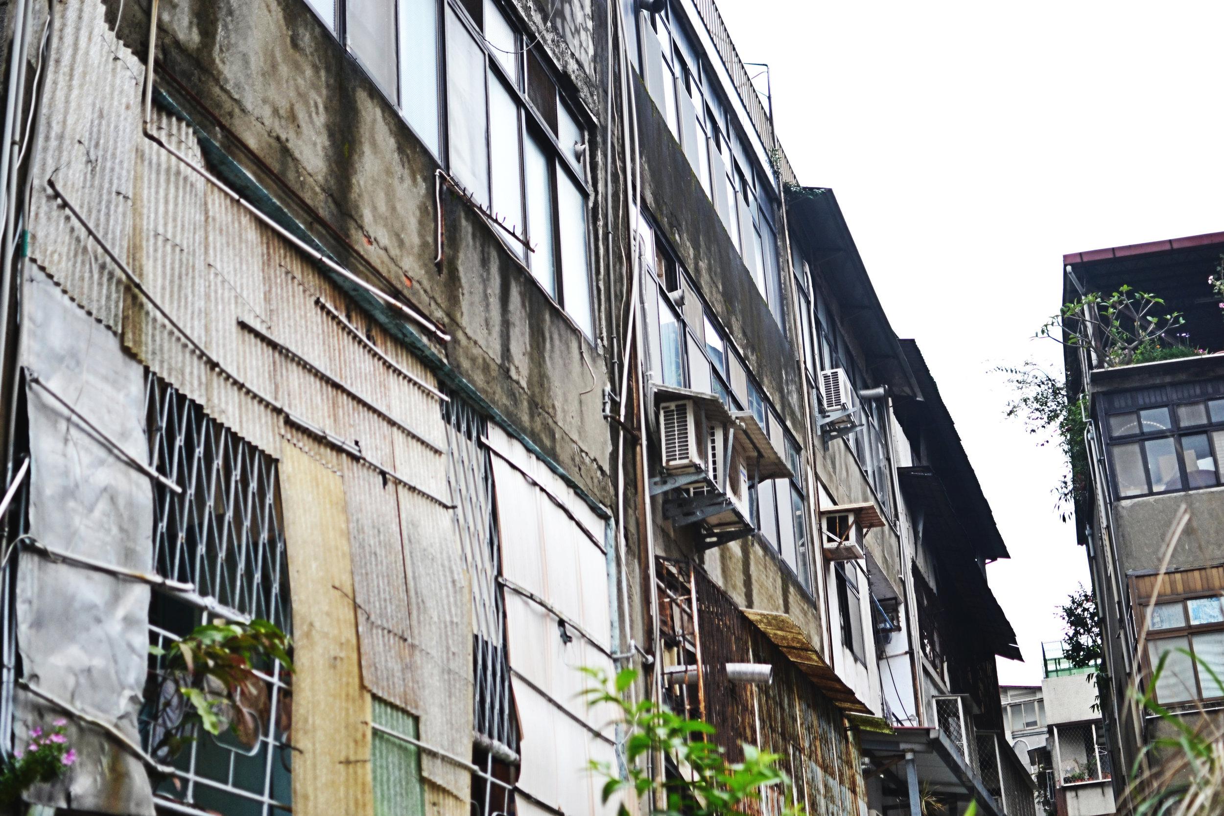 Sheet metal walls of apartments in Taipei, Taiwan