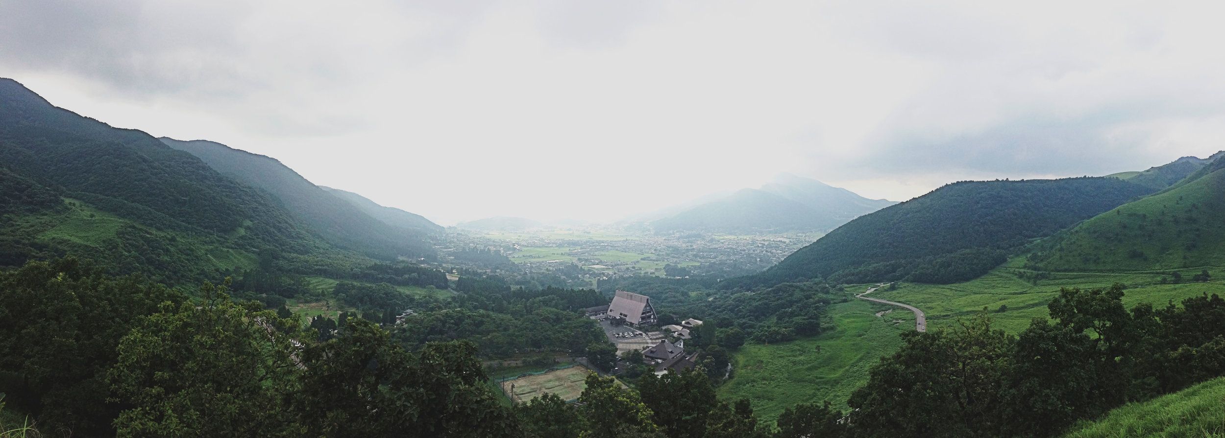 View of Yufuin in Oita from the roadside