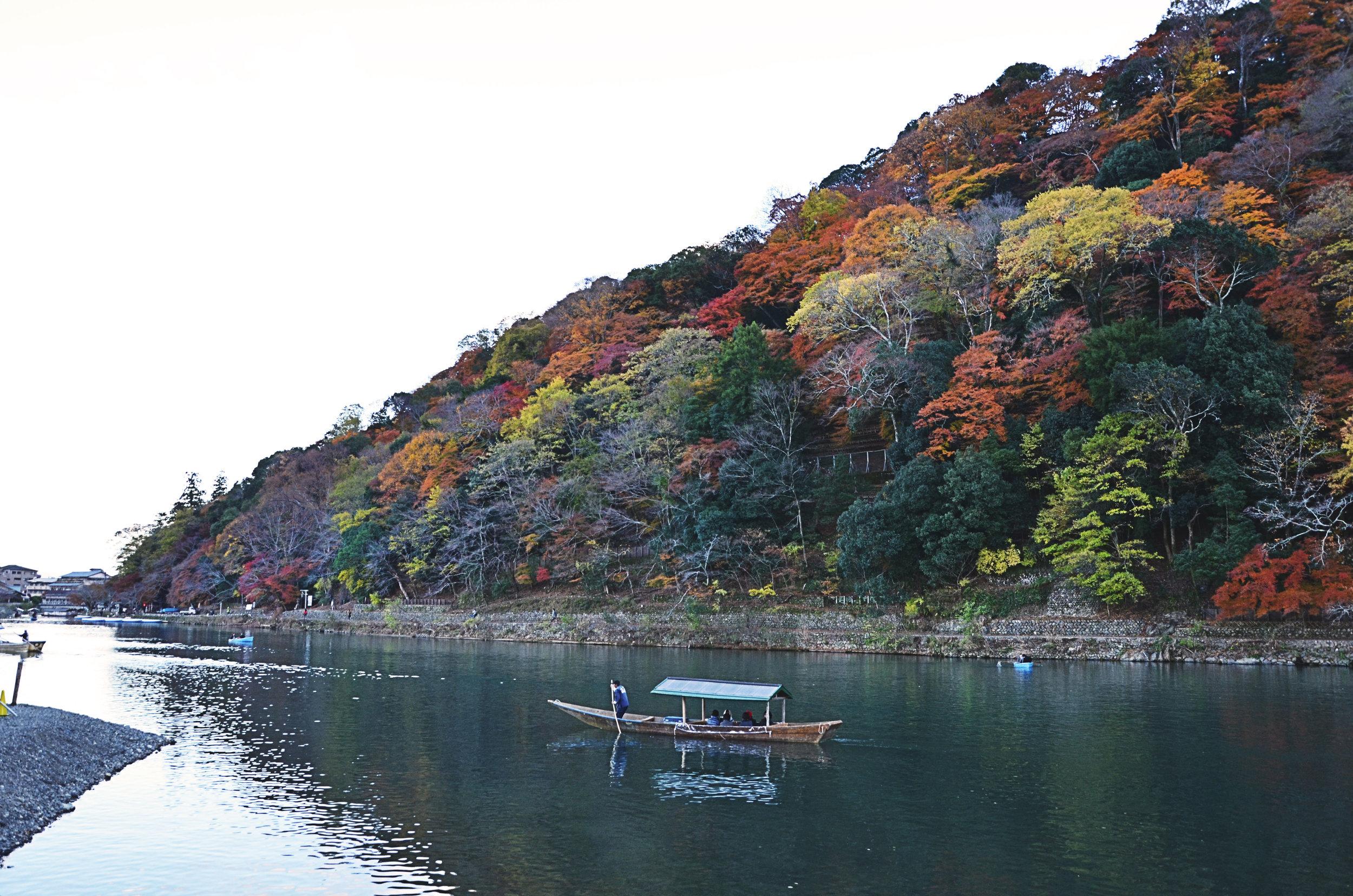 Boat captains on the Hozugawa-kudari boat ride to Arashiyama, Kyoto