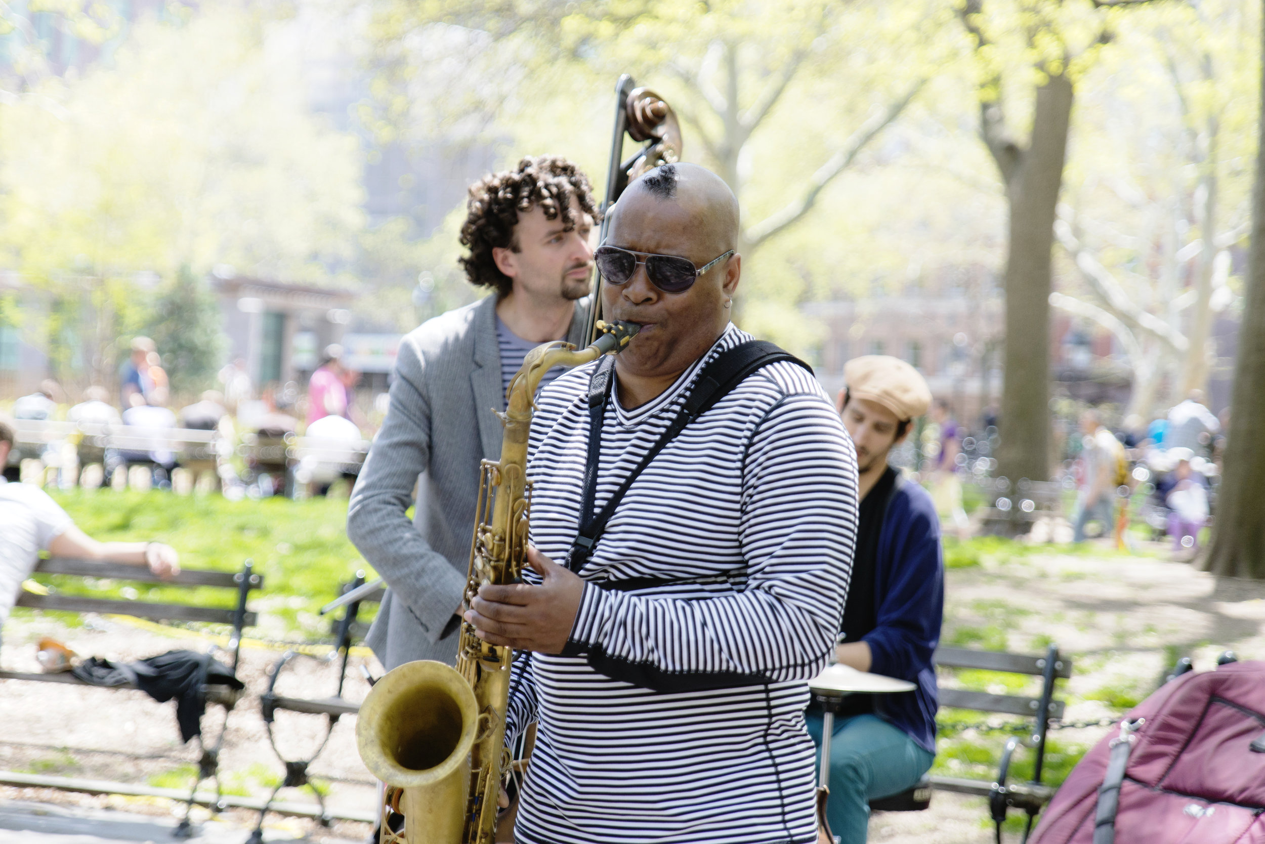 Jazz band playing in Central Park.