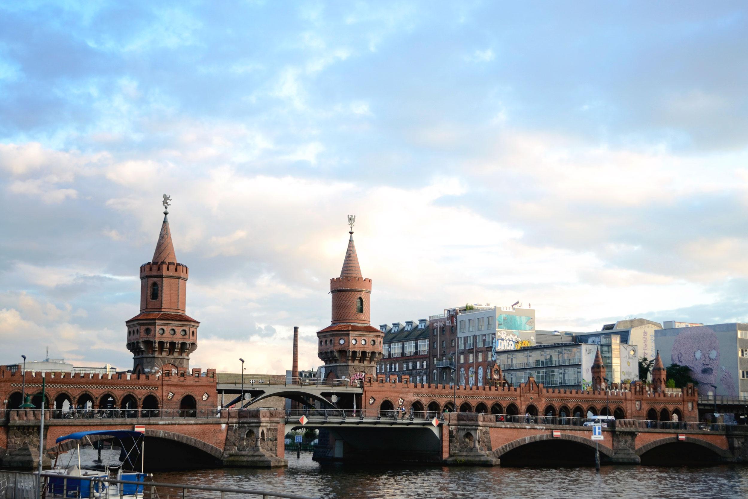 Oberbaumbrücke Bridge and artwork from the nearby Eastside Gallery below.