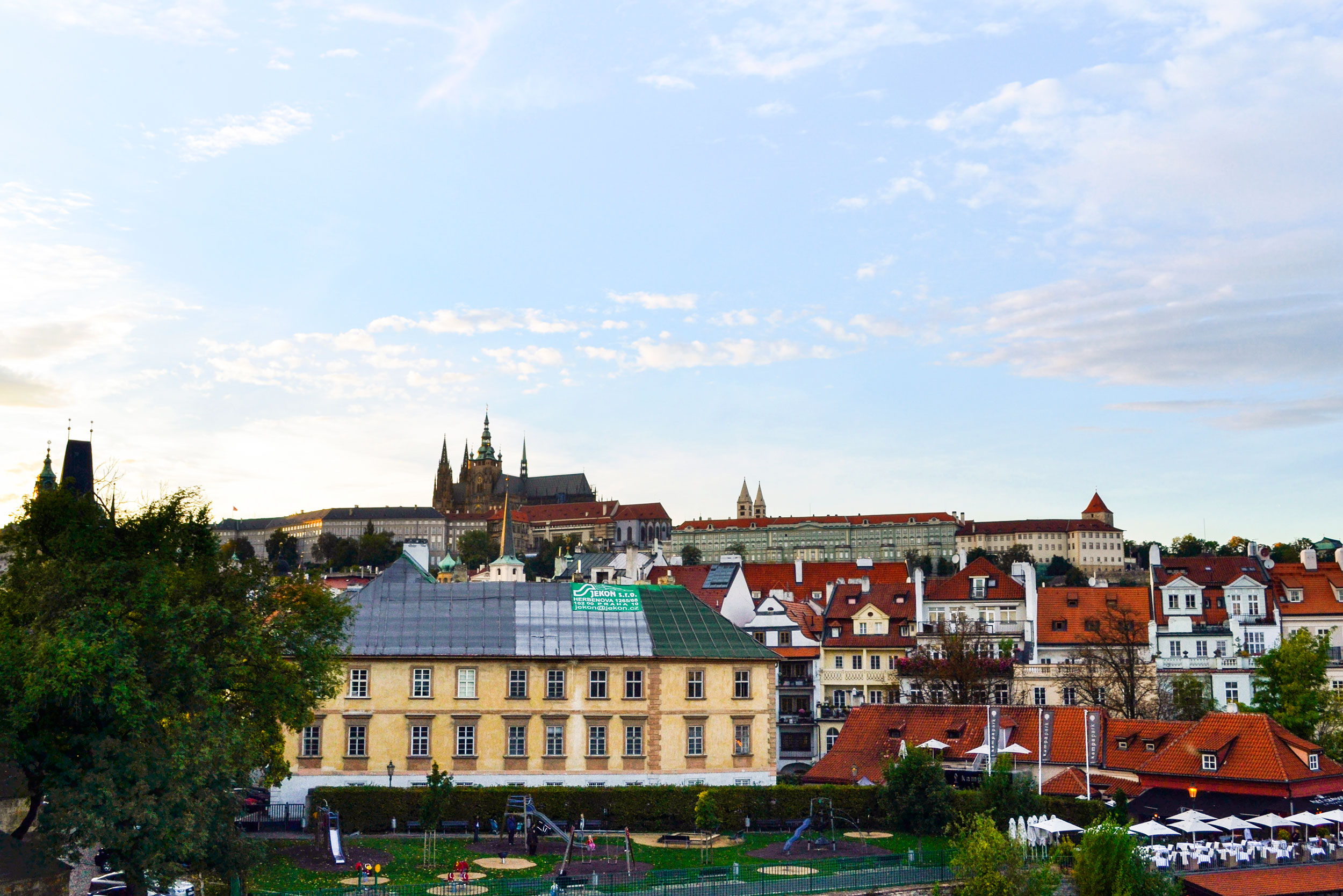 Looking up to the Prague Castle from the Charles Bridge