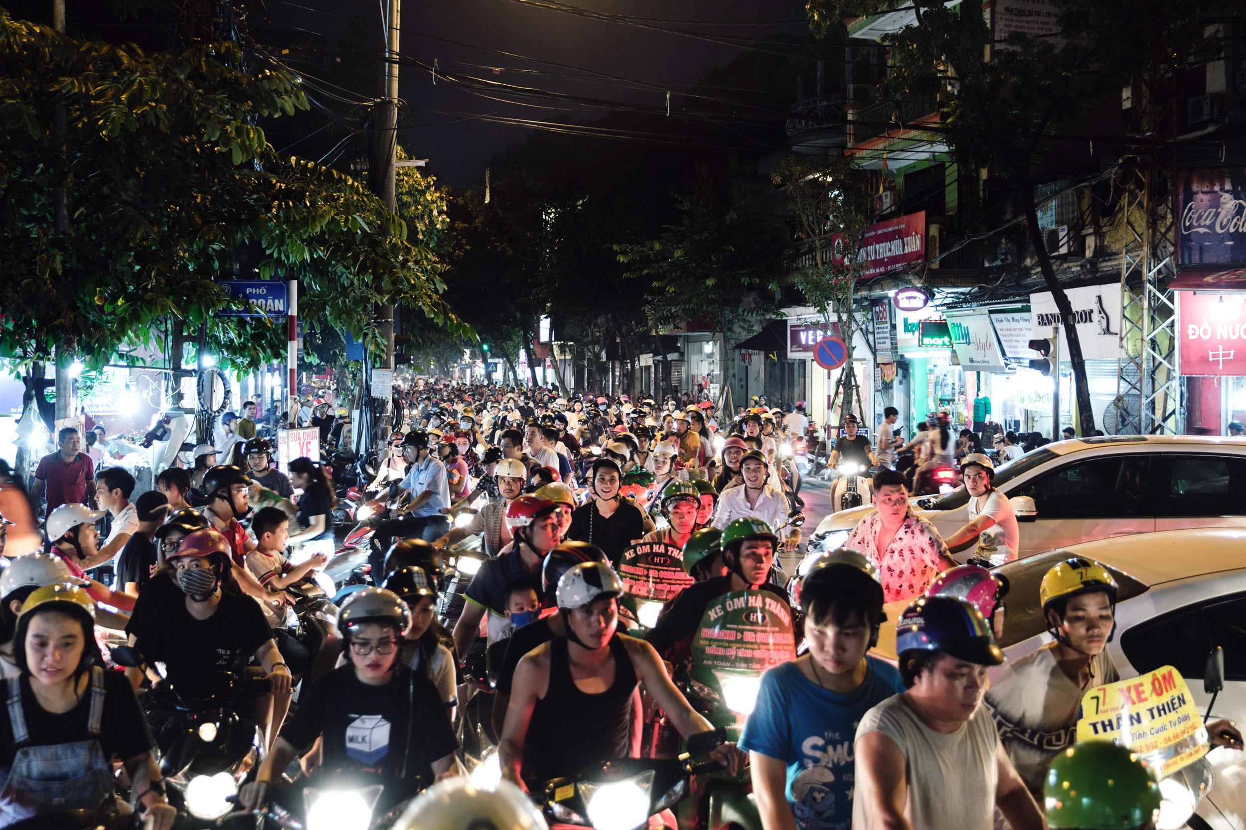 A huge moped traffic jam in Hanoi