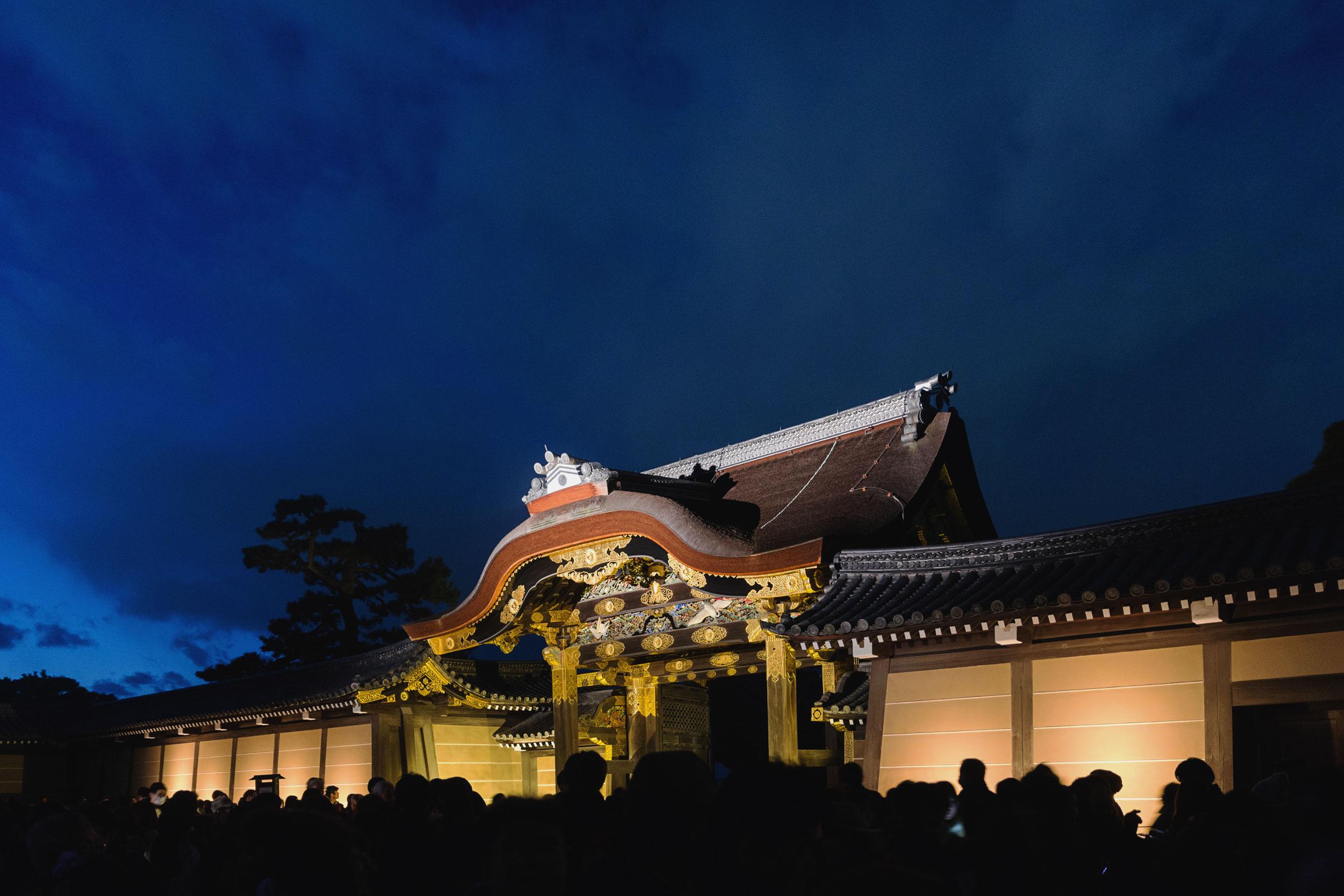 Nijo castle in Kyoto at night