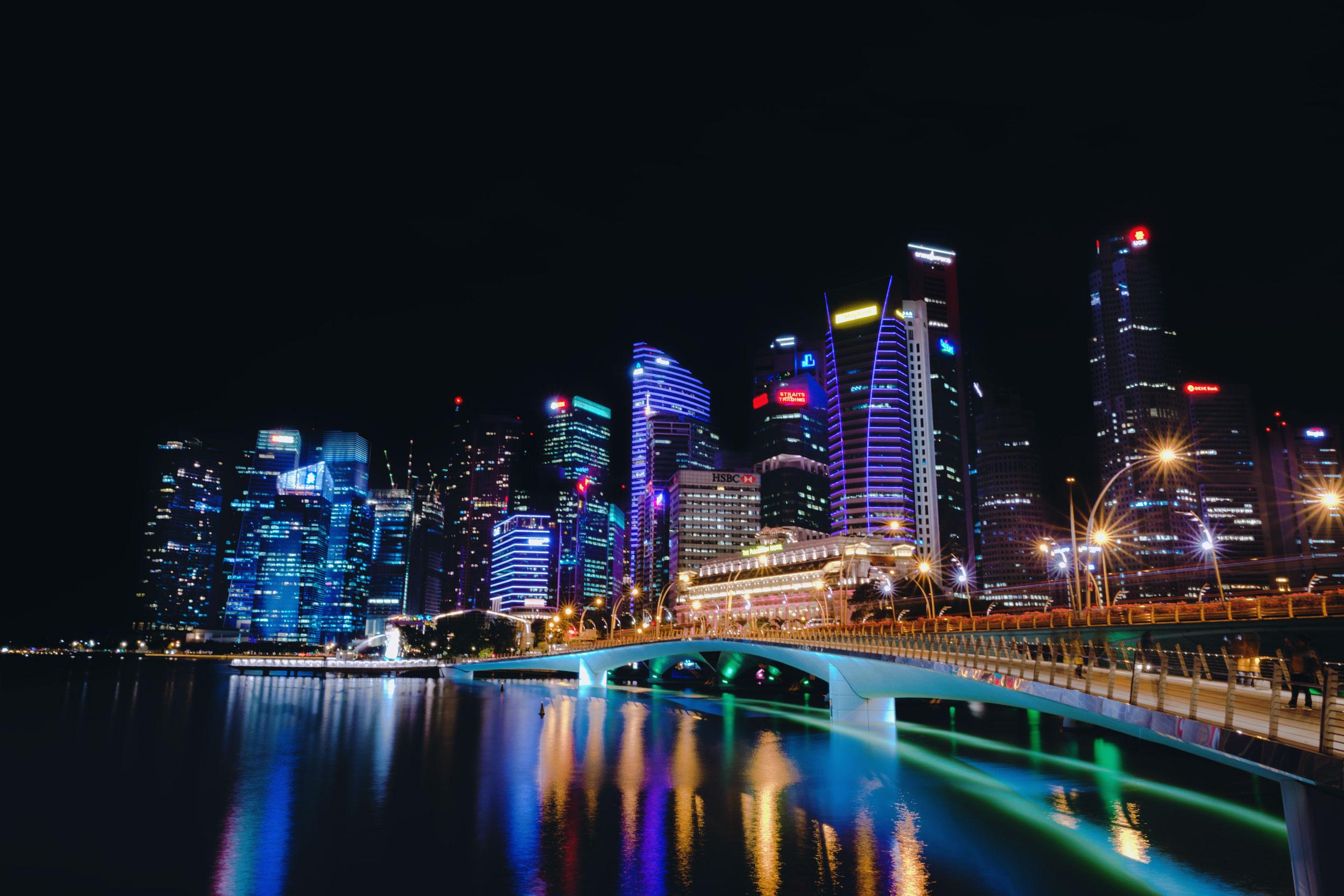 Downtown Singapore skyline at night