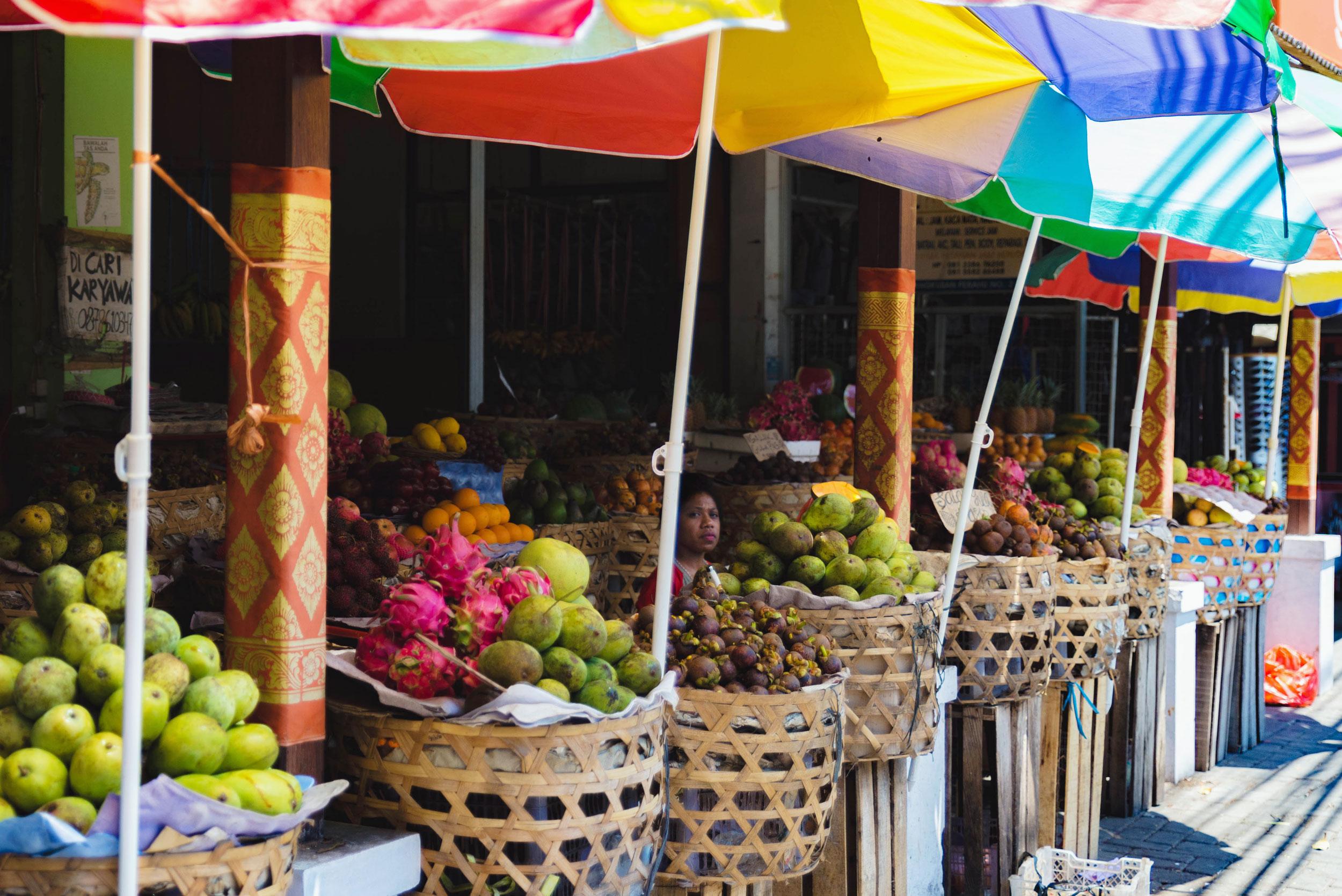Fruit stand at Pasar Taman Sari market