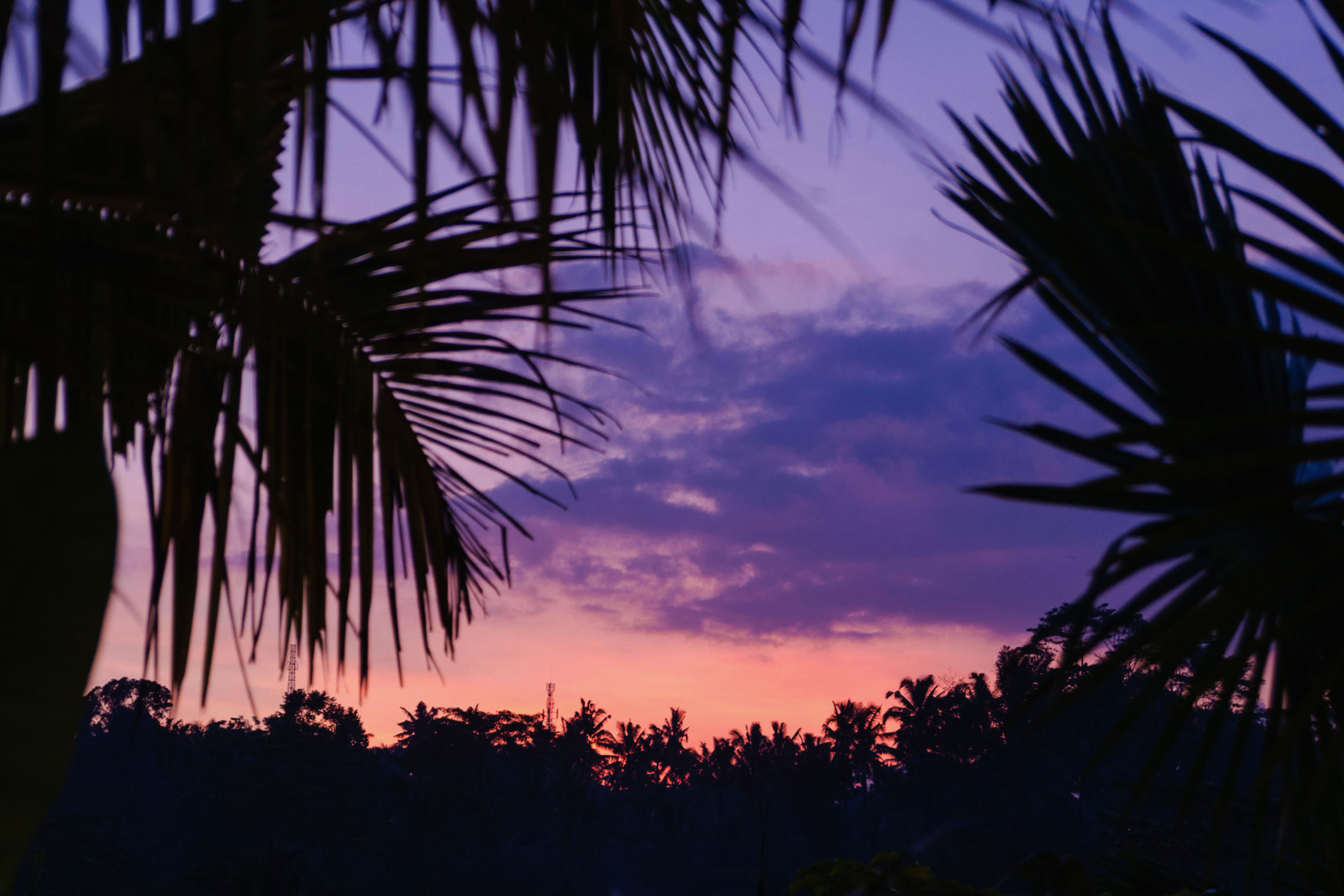 Sunset from the private pool deck at Nau Villas in Ubud, Bali