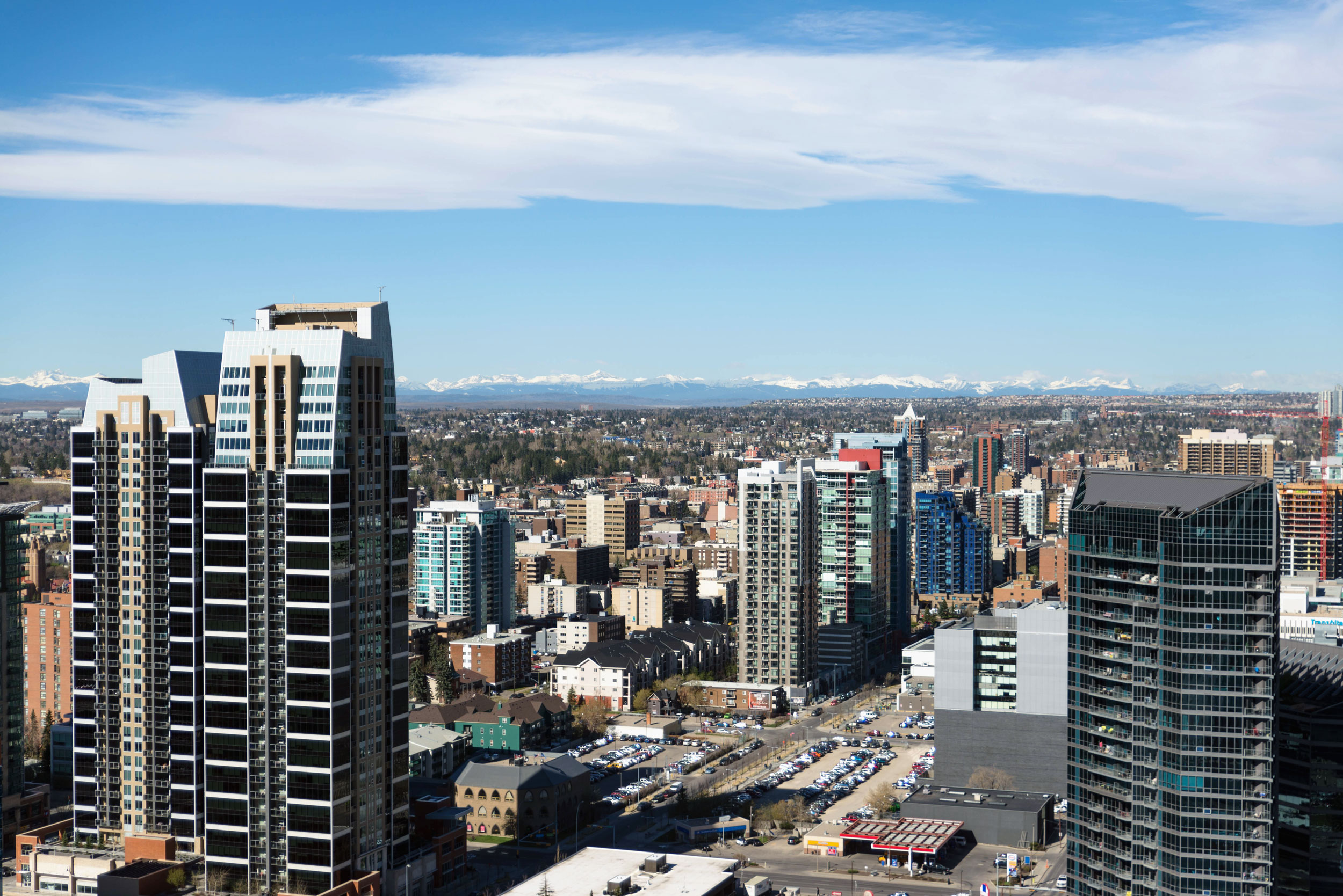 Calgary, south of downtown, with the Canadian Rockies in the distance