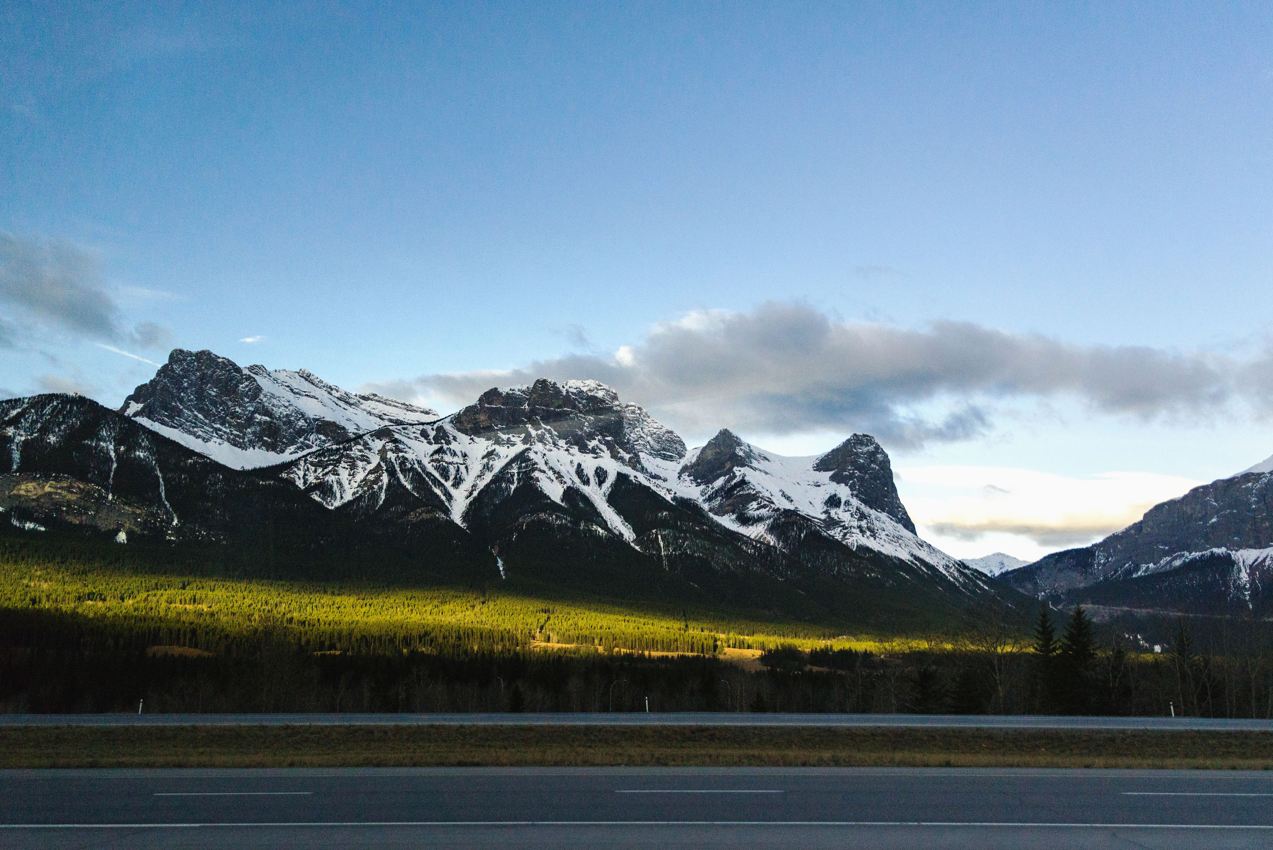 Entering Banff with the morning sunlight shining through