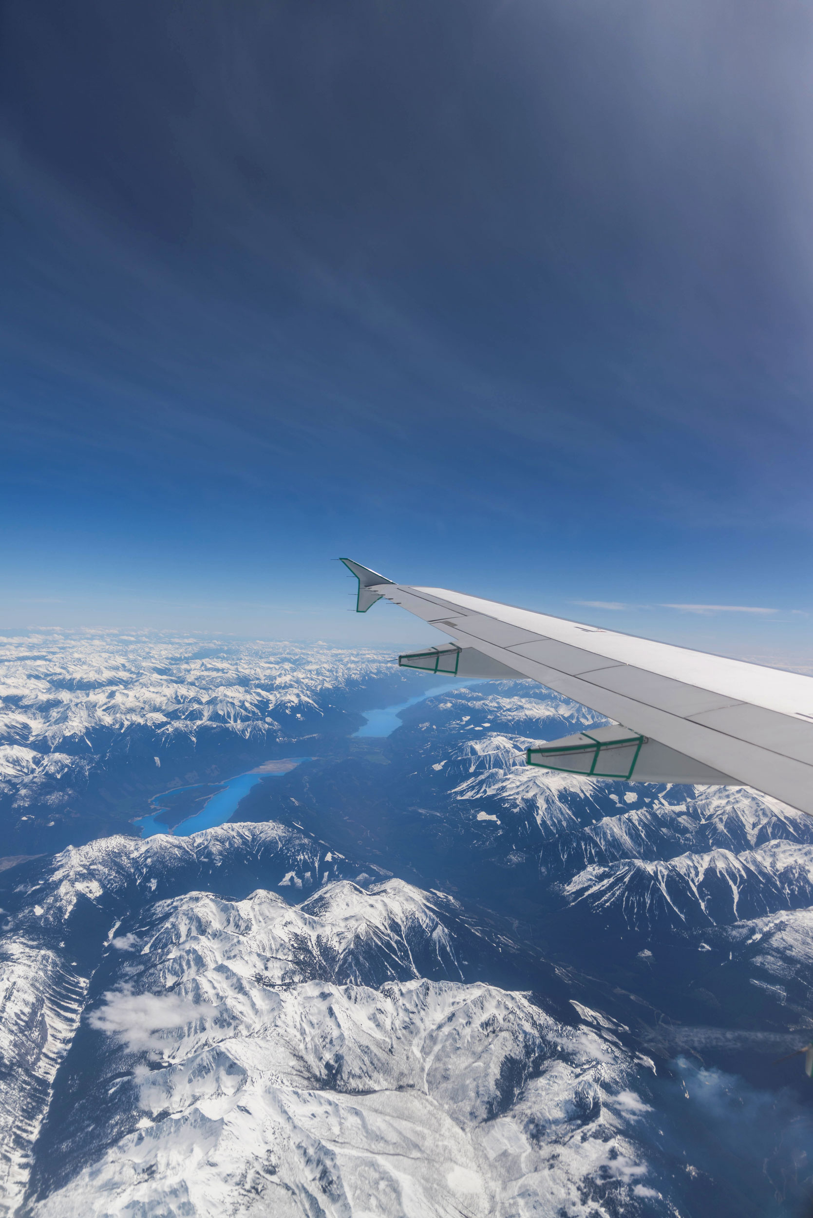 Flying over the Canadian Rockies on Air Canada