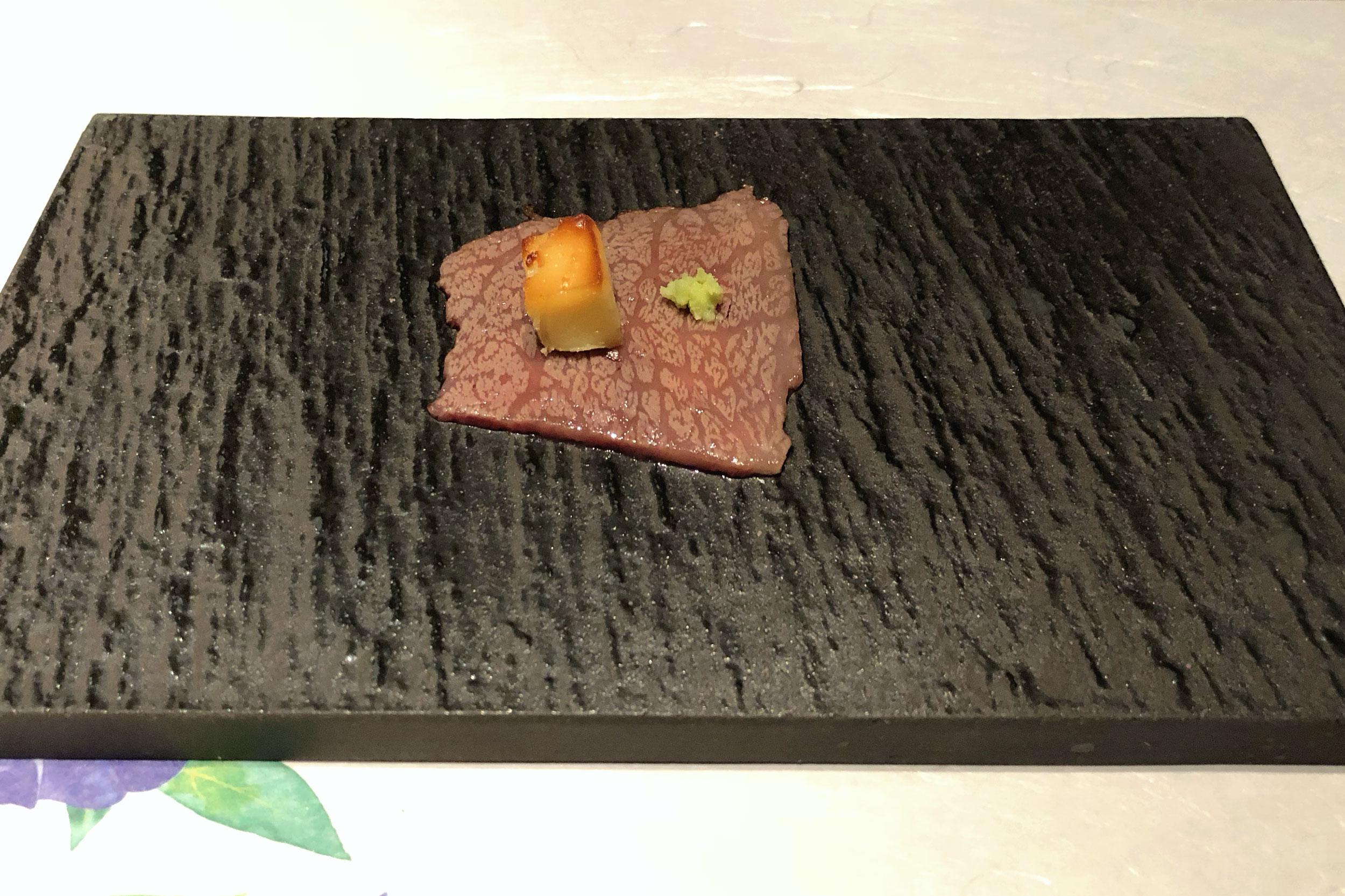 A5 Takanokuni Wagyu with miso pickled cream cheese and wasabi