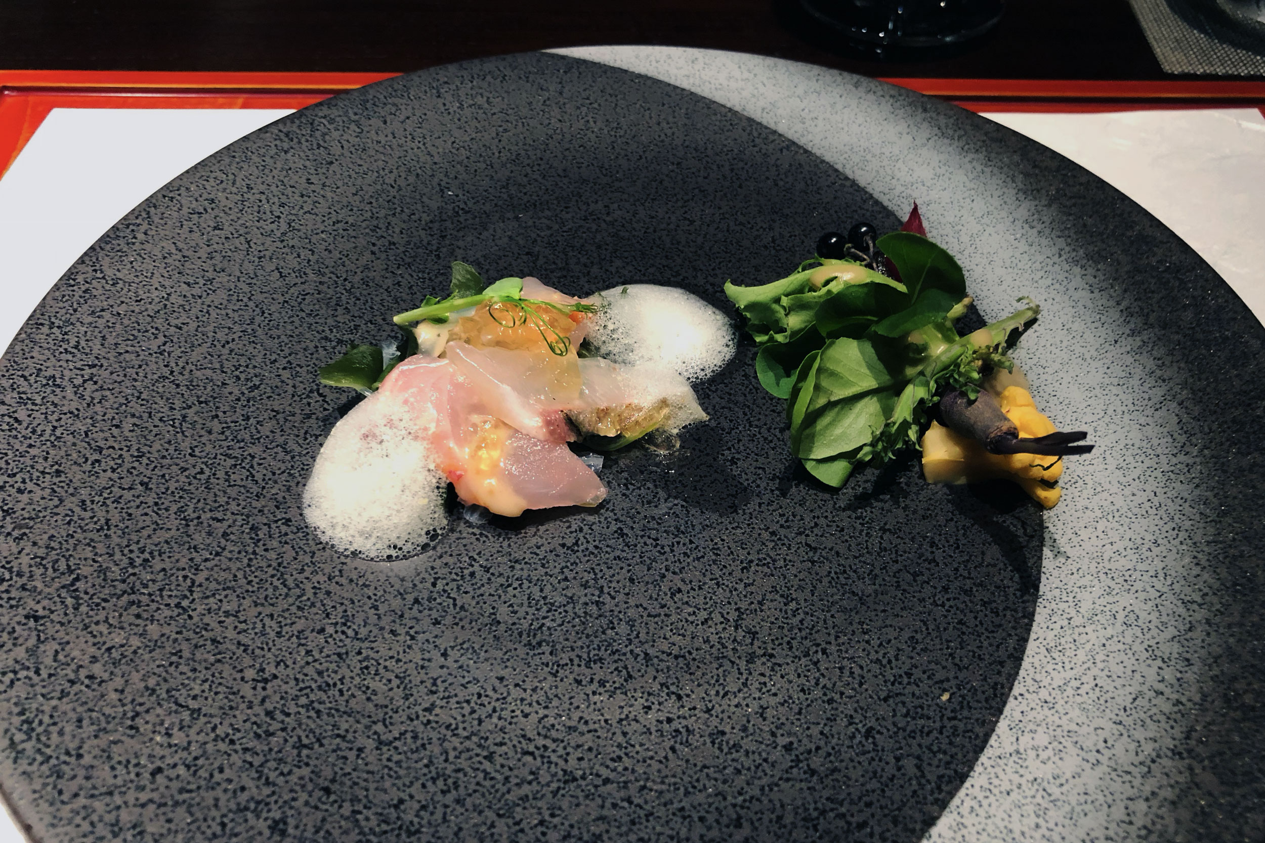 Sashimi (3 types) over seaweed salad, amaebi (sweet shrimp) jelly and wasabi foam with a mini garden salad and miso sesame paste