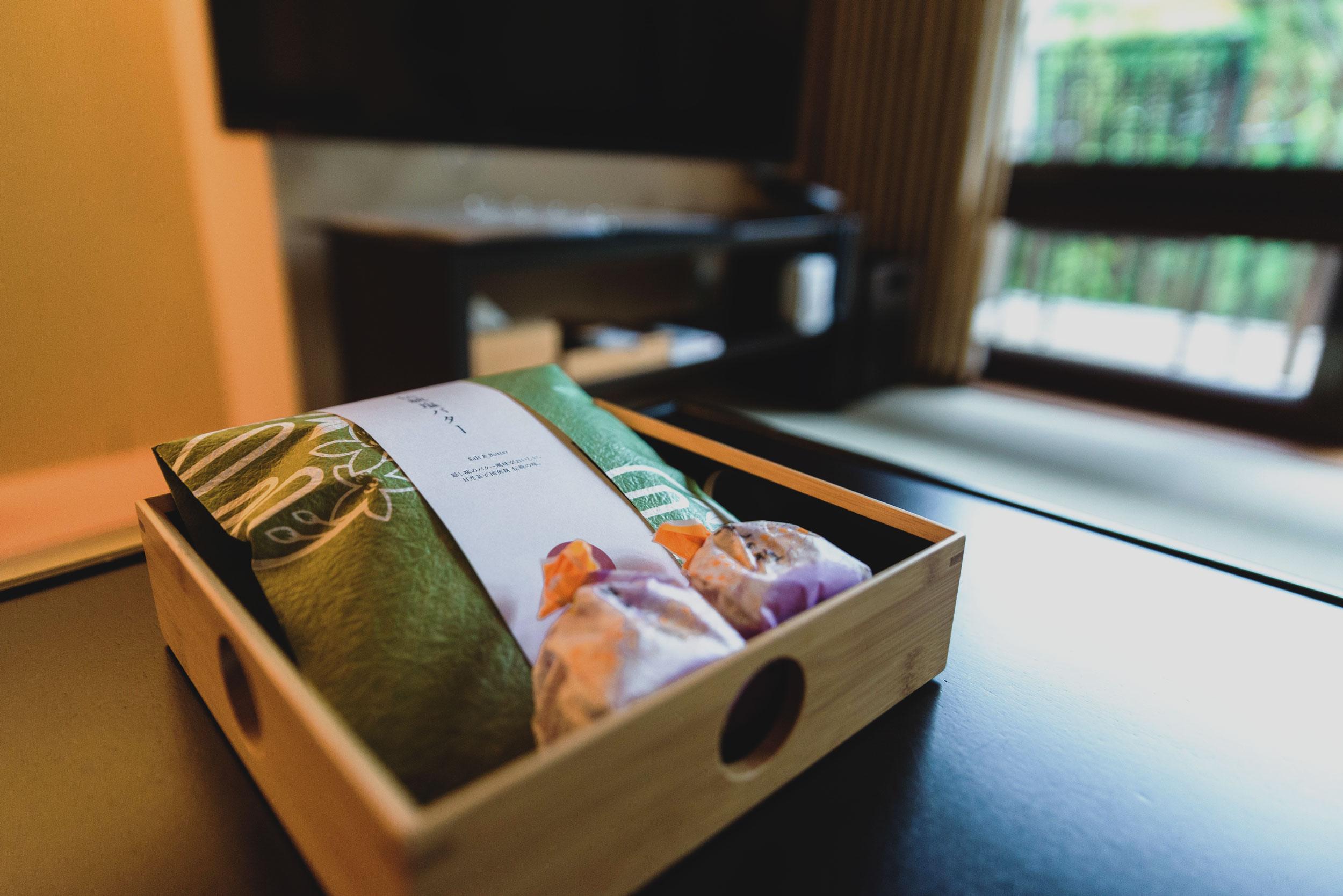 Welcome snacks at Hoshino Resorts KAI Kinugawa