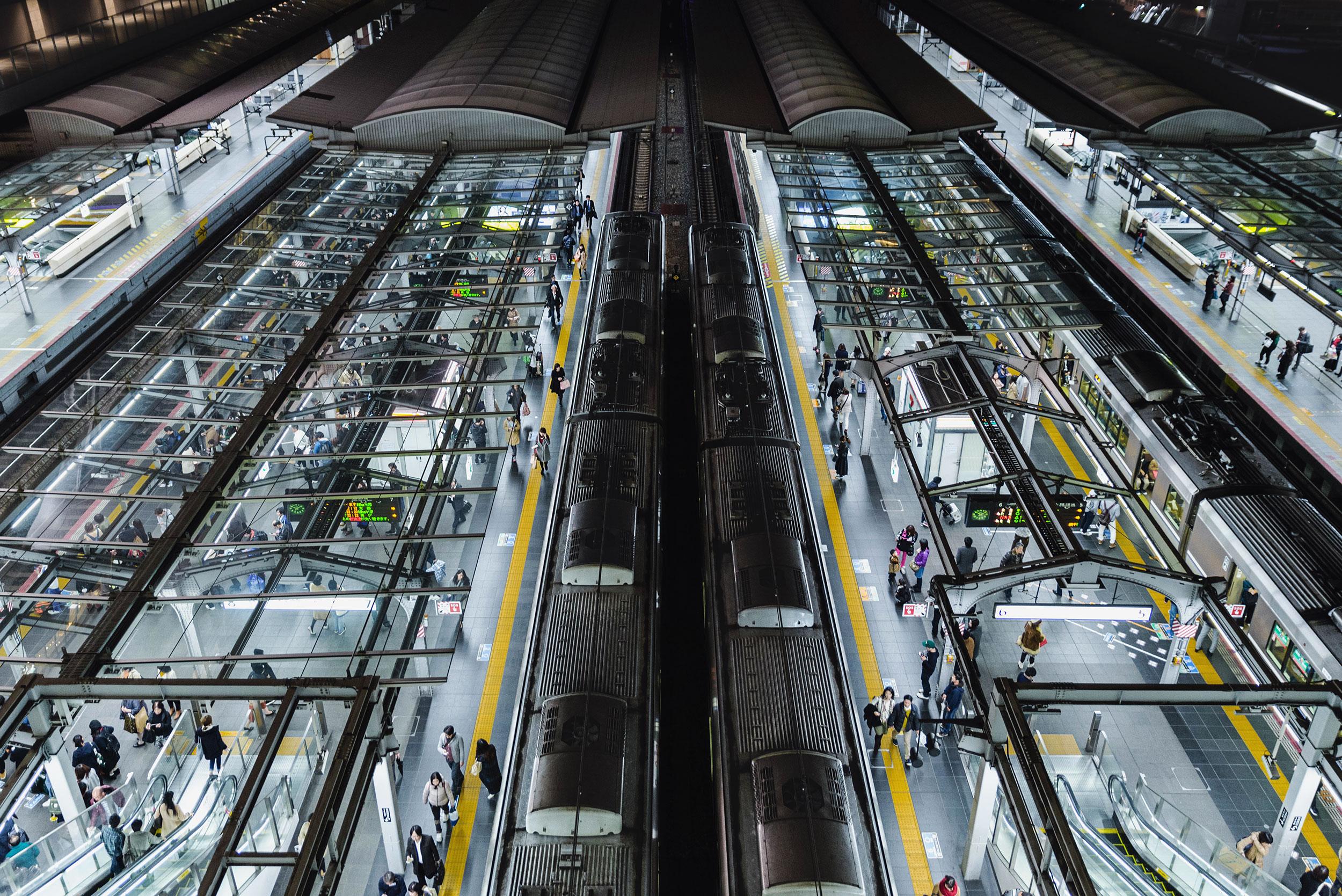 Osaka Station train platforms -  [   BUY PRINT   ]