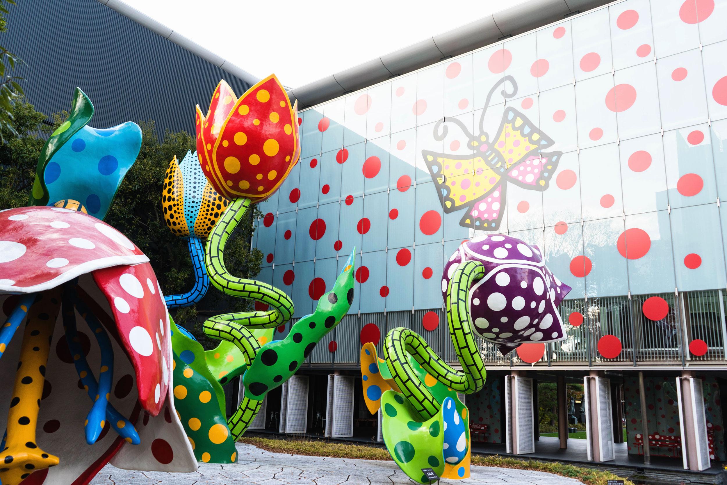Matsumoto City Museum of Art decorated in art by Yayoi Kusama