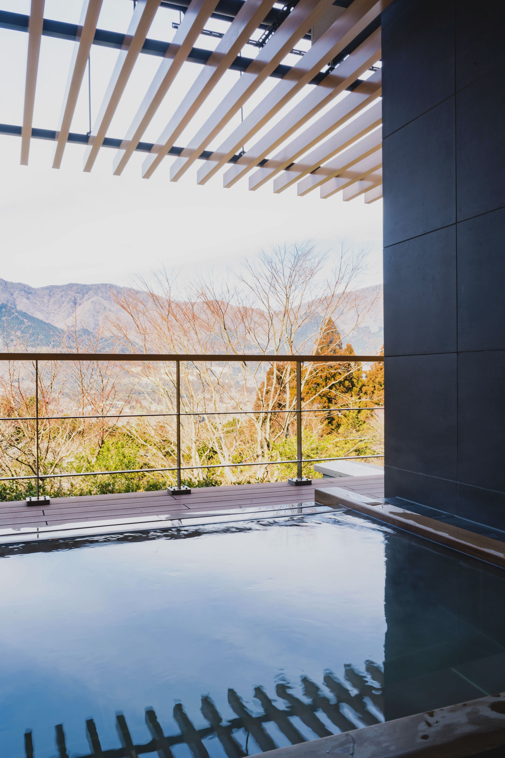 Private onsen tub at Hoshino Resorts KAI Sengokuhara in Hakone