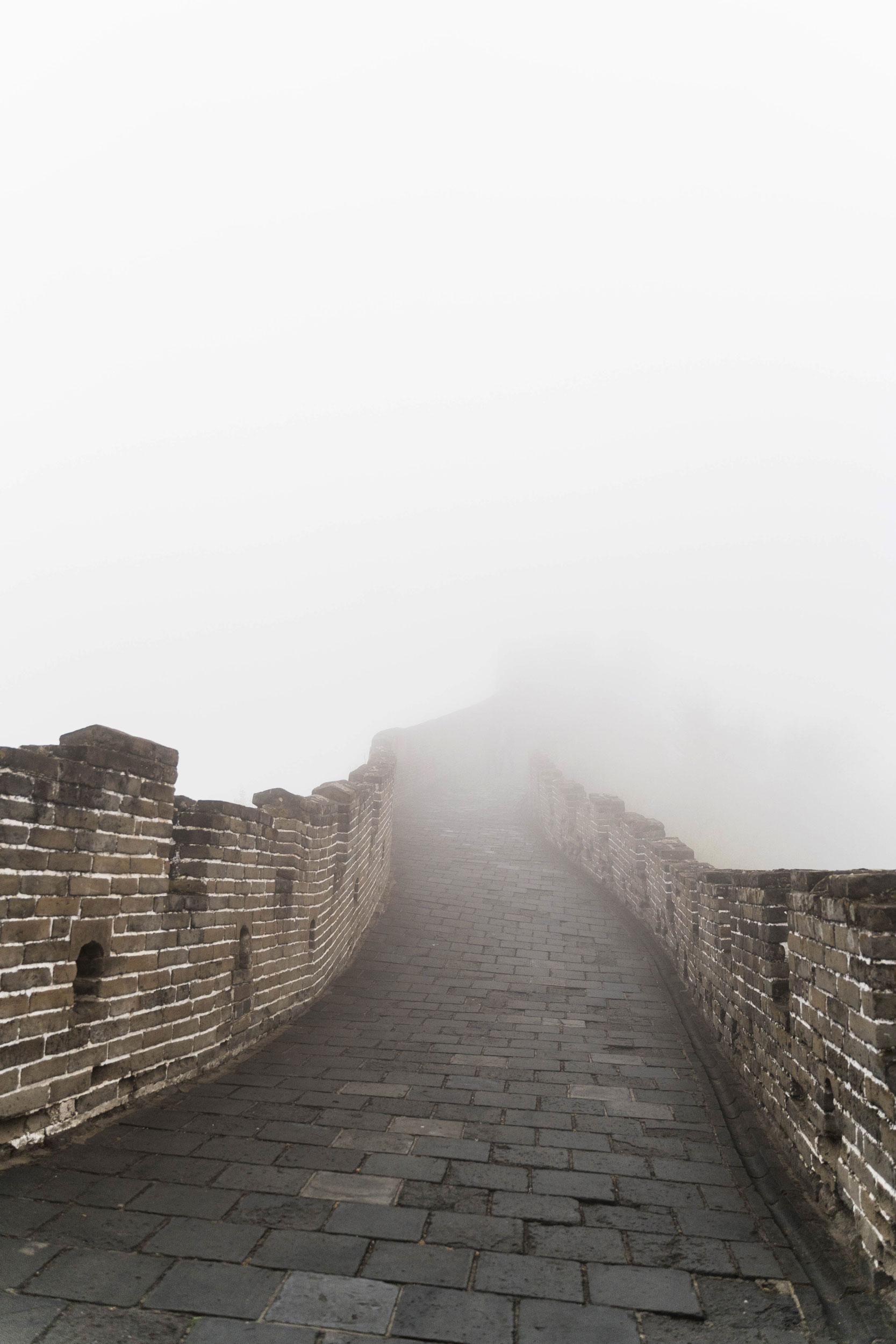The Great Wall at Mutianyu on a foggy morning