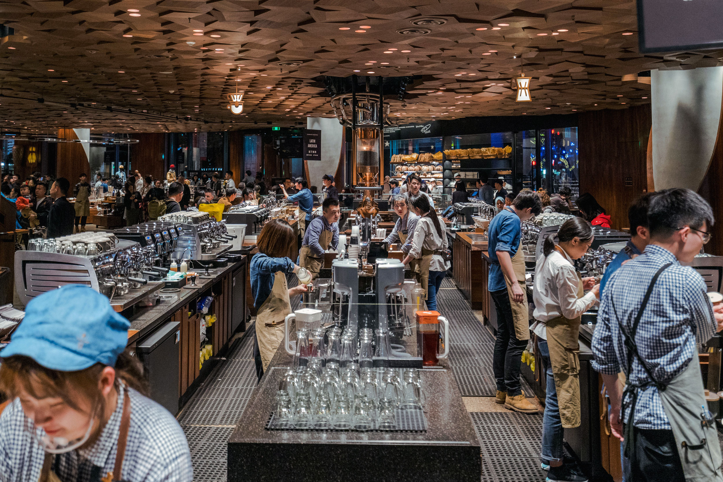 Brew station and coffee bar on the first floor of Starbucks Reserve Shanghai Roastery
