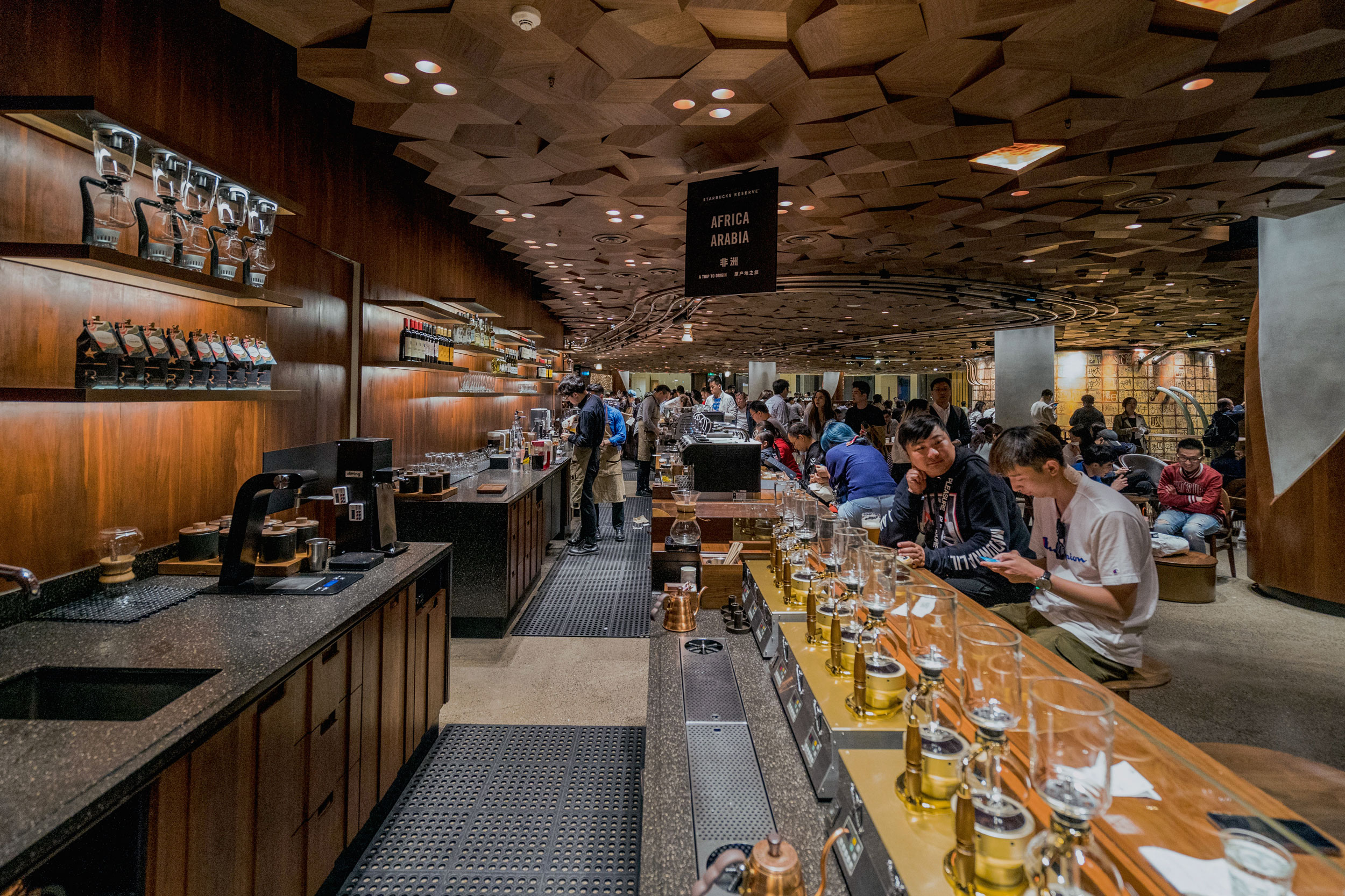 Brew station and coffee bar on the second floor of Starbucks Reserve Shanghai Roastery