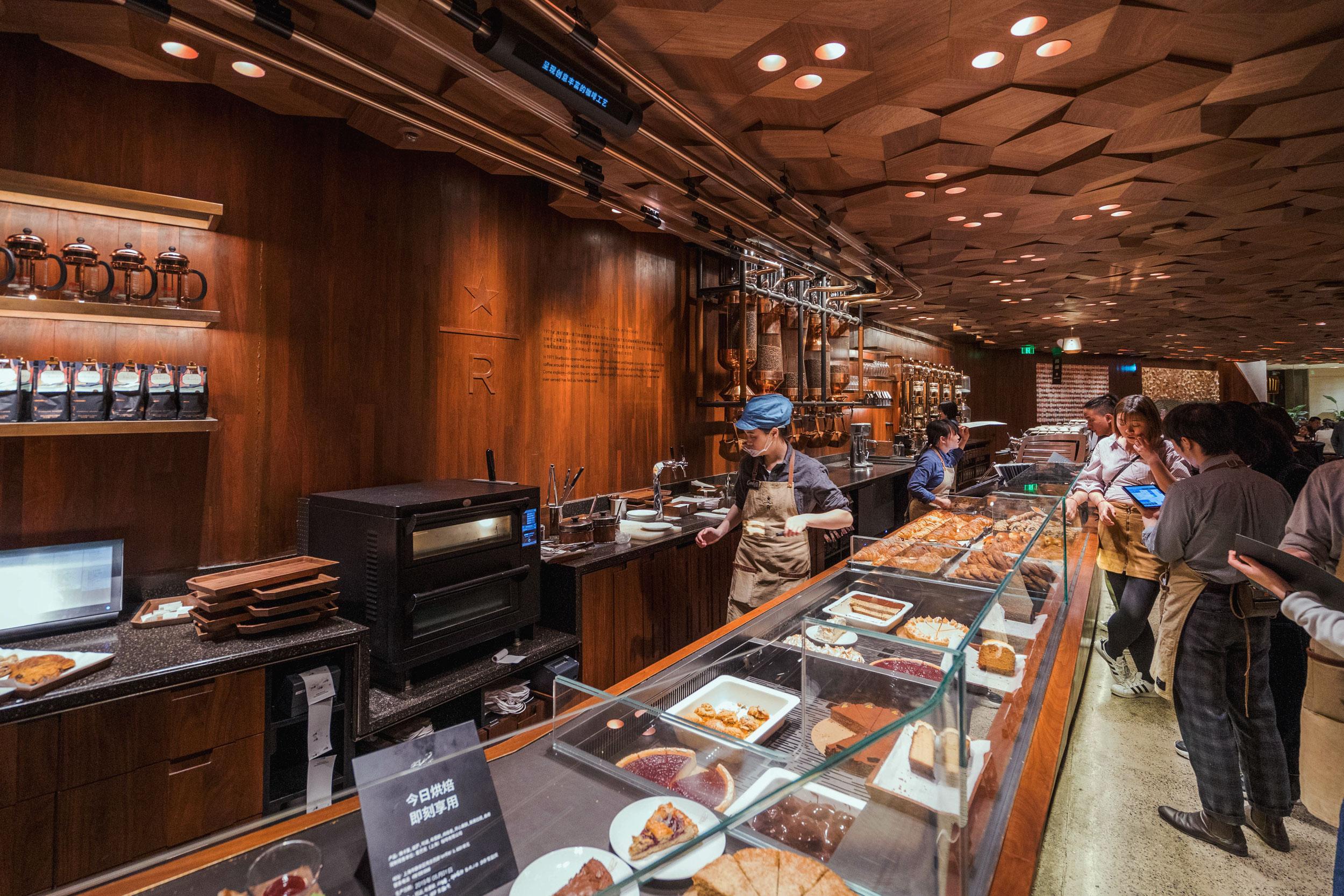 Bakery counter on the second floor of Starbucks Reserve Shanghai Roastery