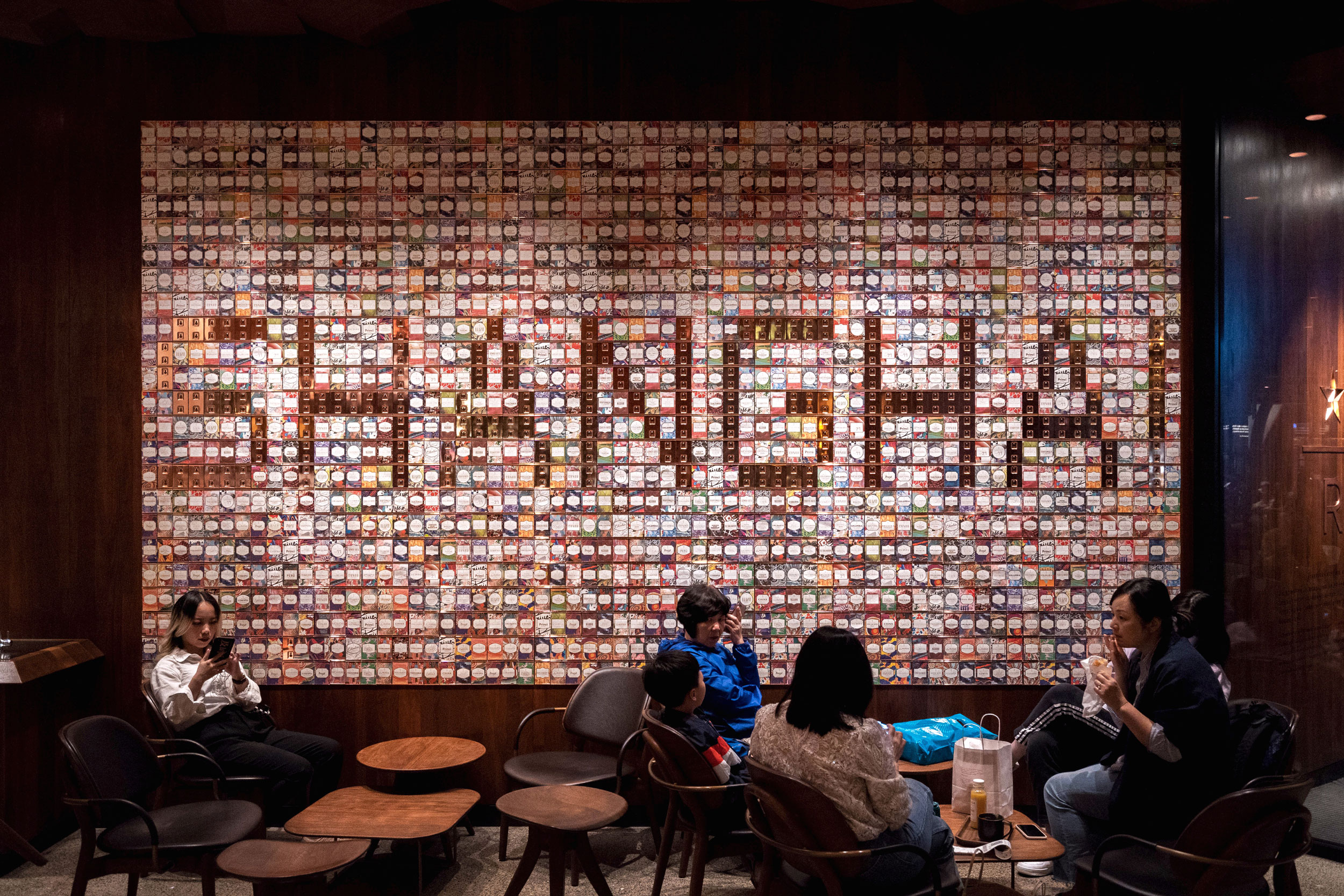 """""""Shanghai"""" wall made from coffee packages at the Starbucks Reserve Shanghai Roastery"""