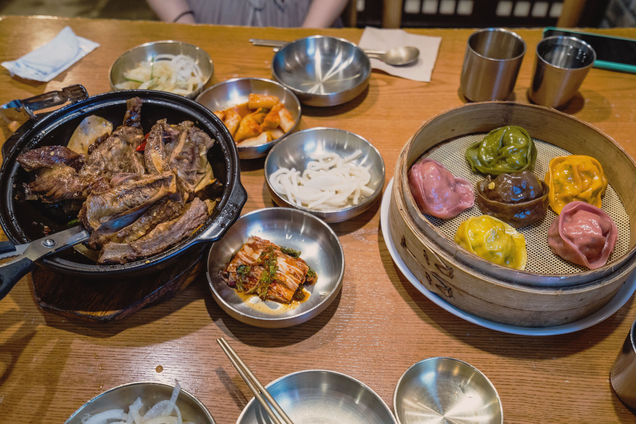 Lunch: Kalbi, colorful mandu, sides