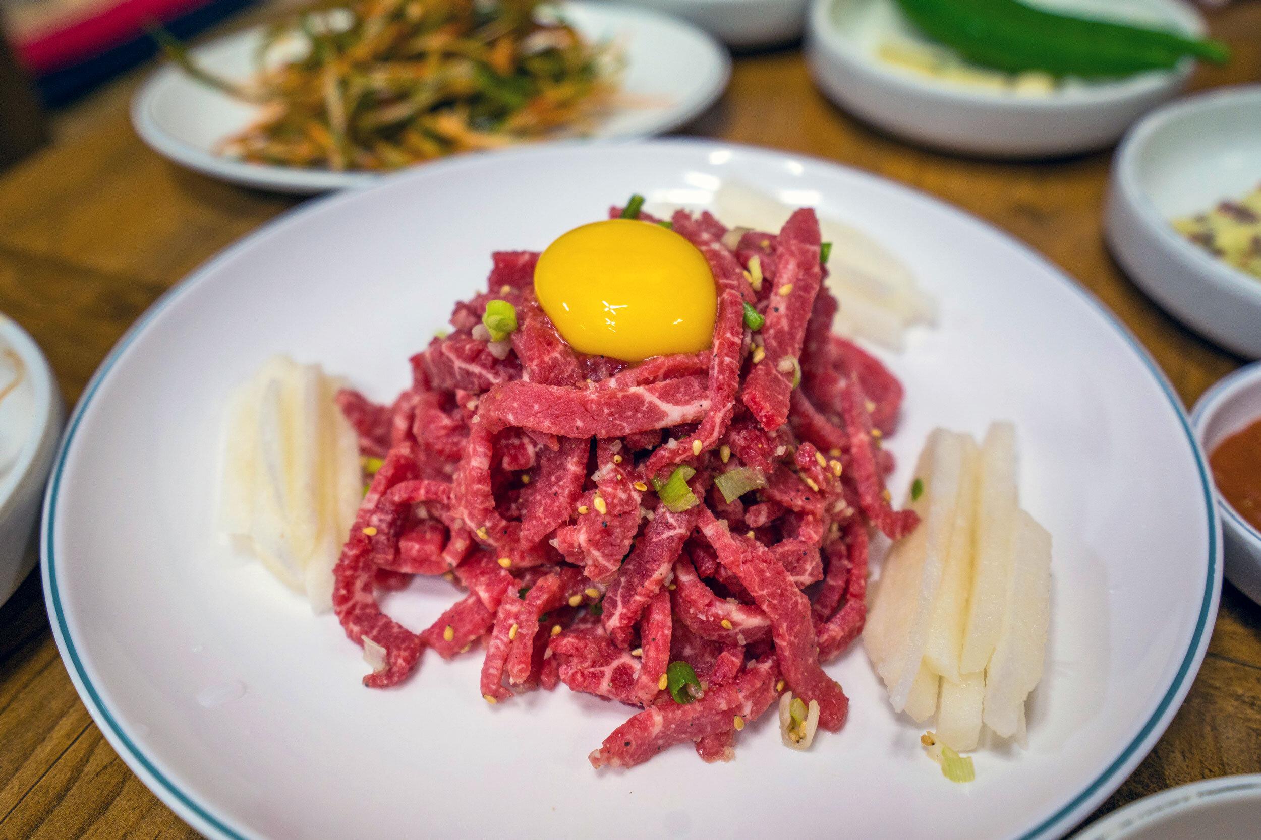 1++ Hanwoo beef yukke (raw beef + egg)