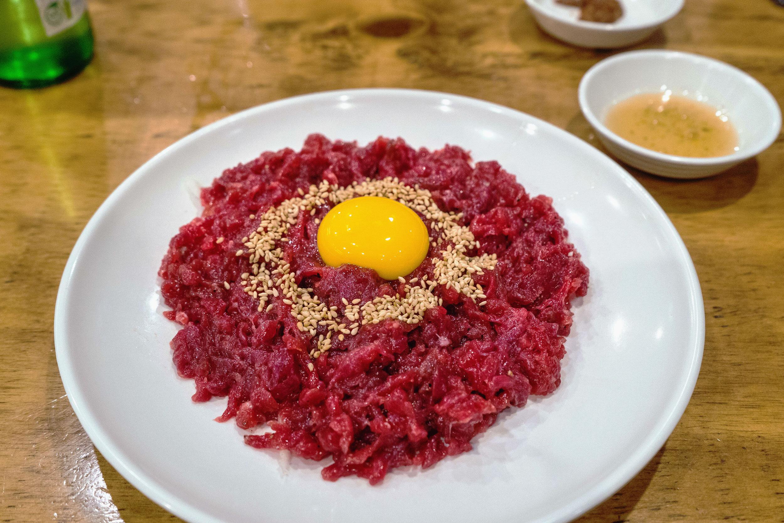 Yukke - raw beef and raw egg