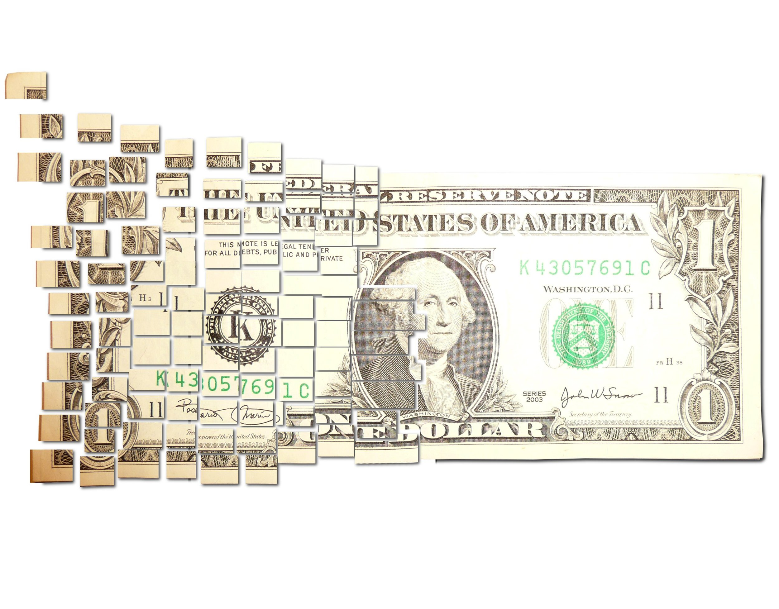 """"""" Torn & Cut One Dollar Note Floating Away in Small $ Pieces """" by PhotoSteve101  (CC BY 2.0)"""