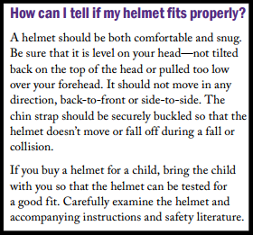 "Source:  U.S. CPSC  ""Which Helmet for Which Activity?"""