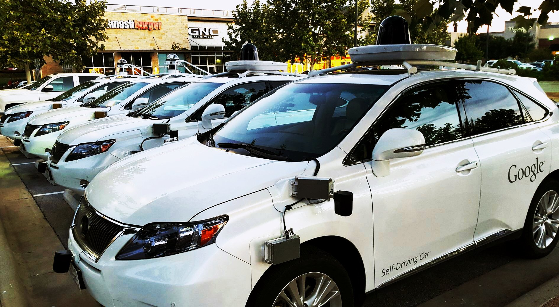 """"""" While running errands today, I ran into a gaggle of Google self driving cars ."""" by  Alan  ( CC BY-NC 2.0 )"""