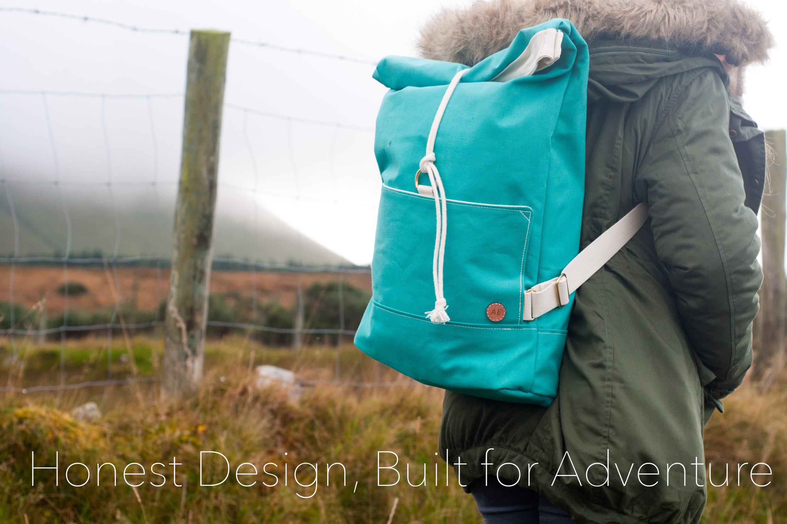 Green Canvas Rolltop Backpack