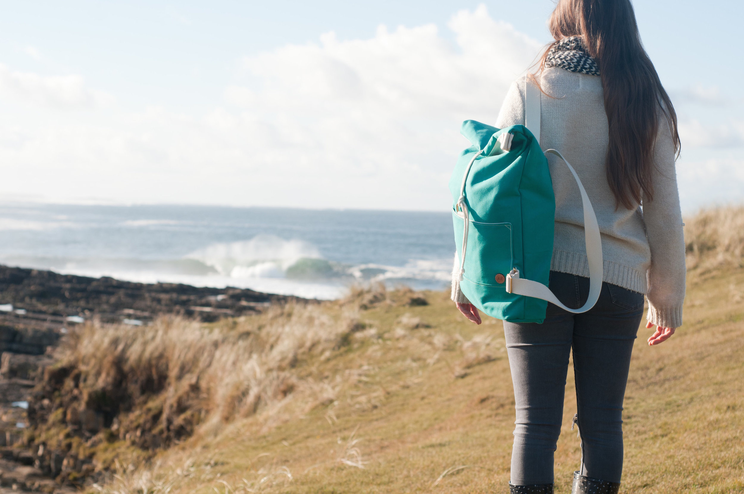 Canvas Sea Green Rolltop Backpack