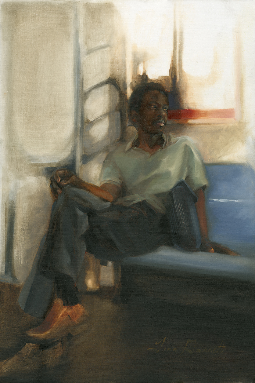 """Lonesome Man on a Train"" 24x36 Oil — AVAILABLE"