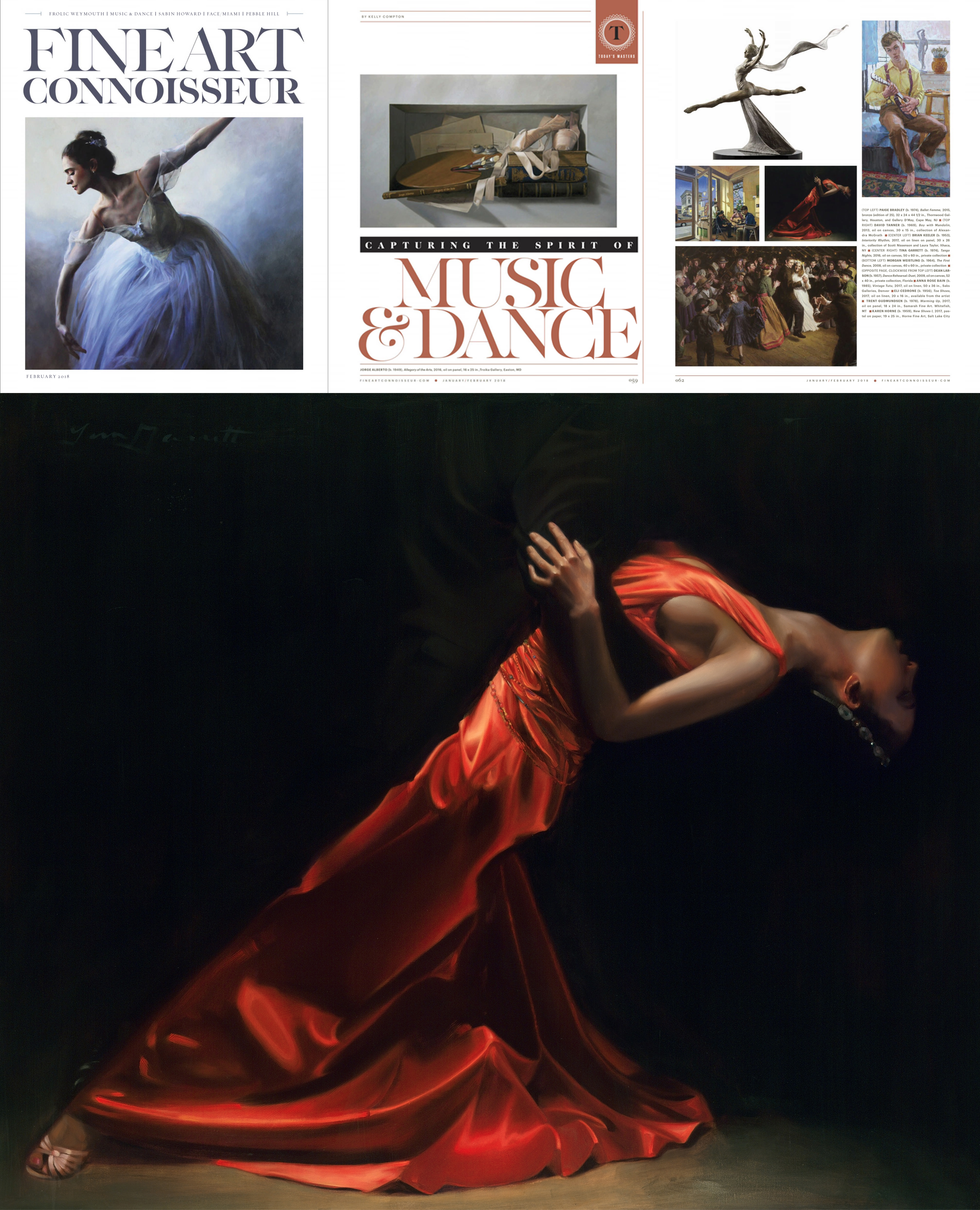 """Tango Nights"" 50x60 inches, Oil, Private Collection was chosen for the ""Today's Masters — Capturing the Spirit of Music & Dance"" feature article in the January/February issue of Fine Art Connoisseur Magazine! Dancers have inspired most of Tina's work including Tango, Flamenco and Ballet dancers. Dancers' posture, grace, strength and athleticism makes them one of Tina's most favorite subjects. To see available paintings featuring dancers, visit Tina's   Available Works Gallery  ."